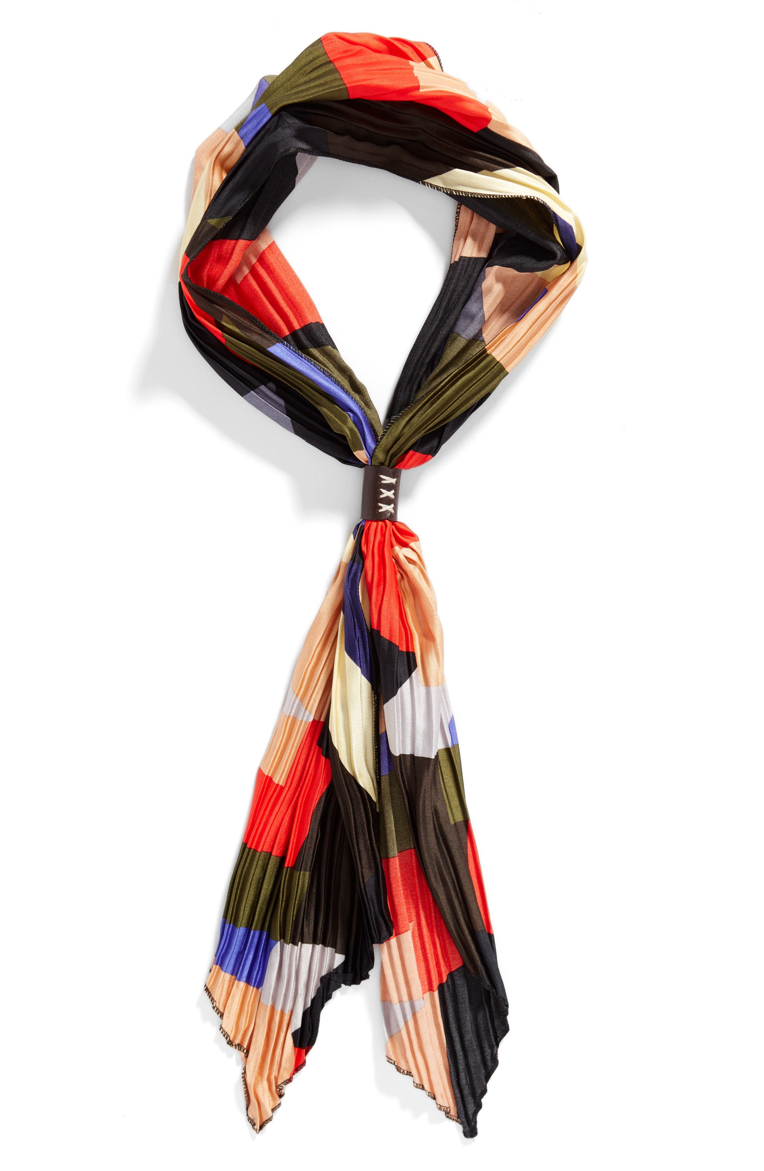 Pleated Skinny Scarf,                             Alternate thumbnail 2, color,                             001
