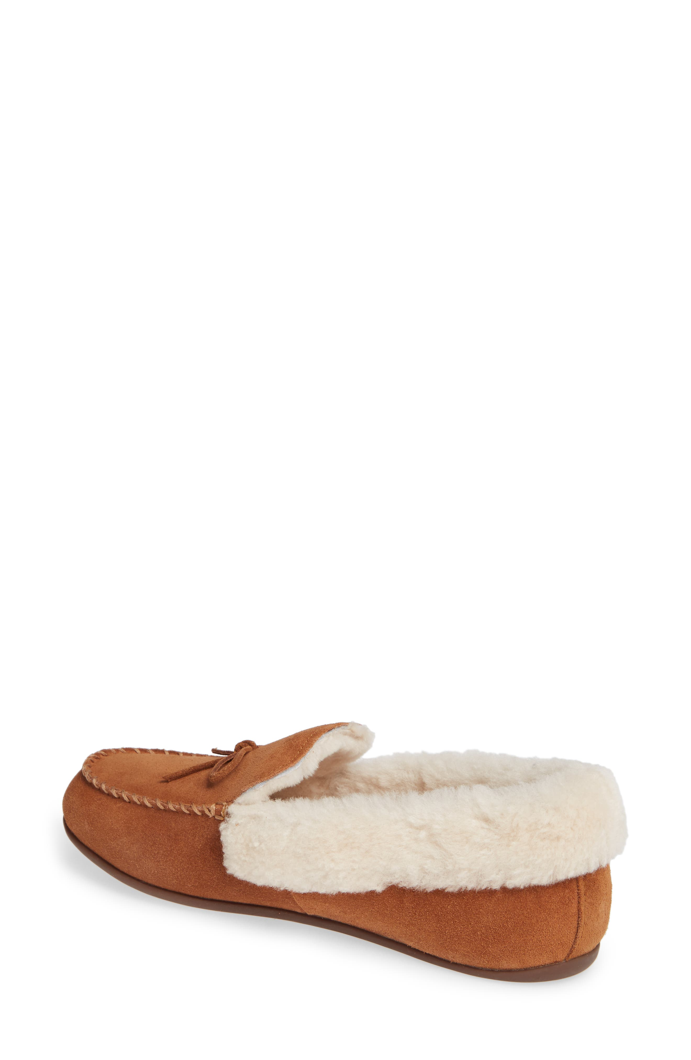 Clara Genuine Shearling Lined Moccasin,                             Alternate thumbnail 2, color,                             TUMBLED TAN SUEDE