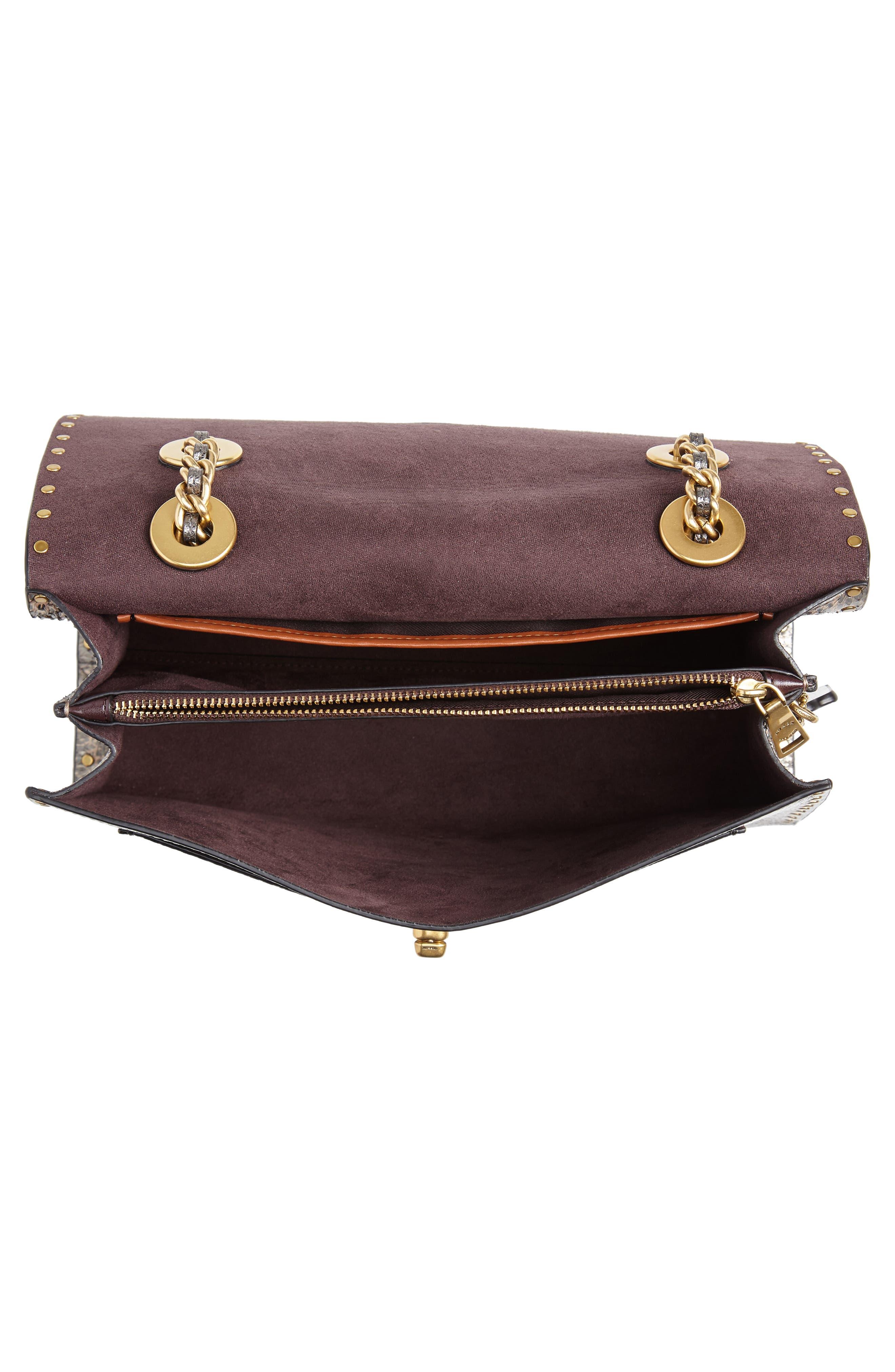 Signature Border Parker Leather & Genuine Snakeskin Shoulder Bag,                             Alternate thumbnail 4, color,                             CHARCOAL METALLIC GRAPHITE