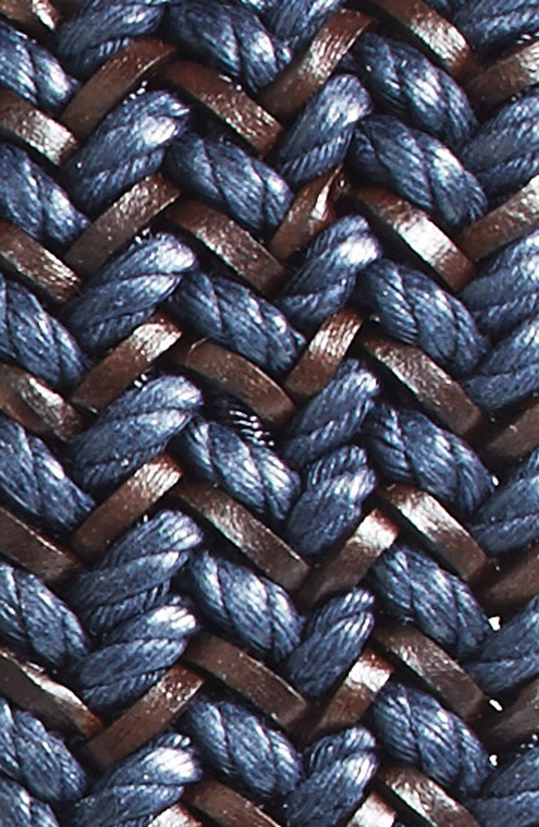 Woven & Leather Belt,                             Alternate thumbnail 2, color,                             NAVY/ BROWN