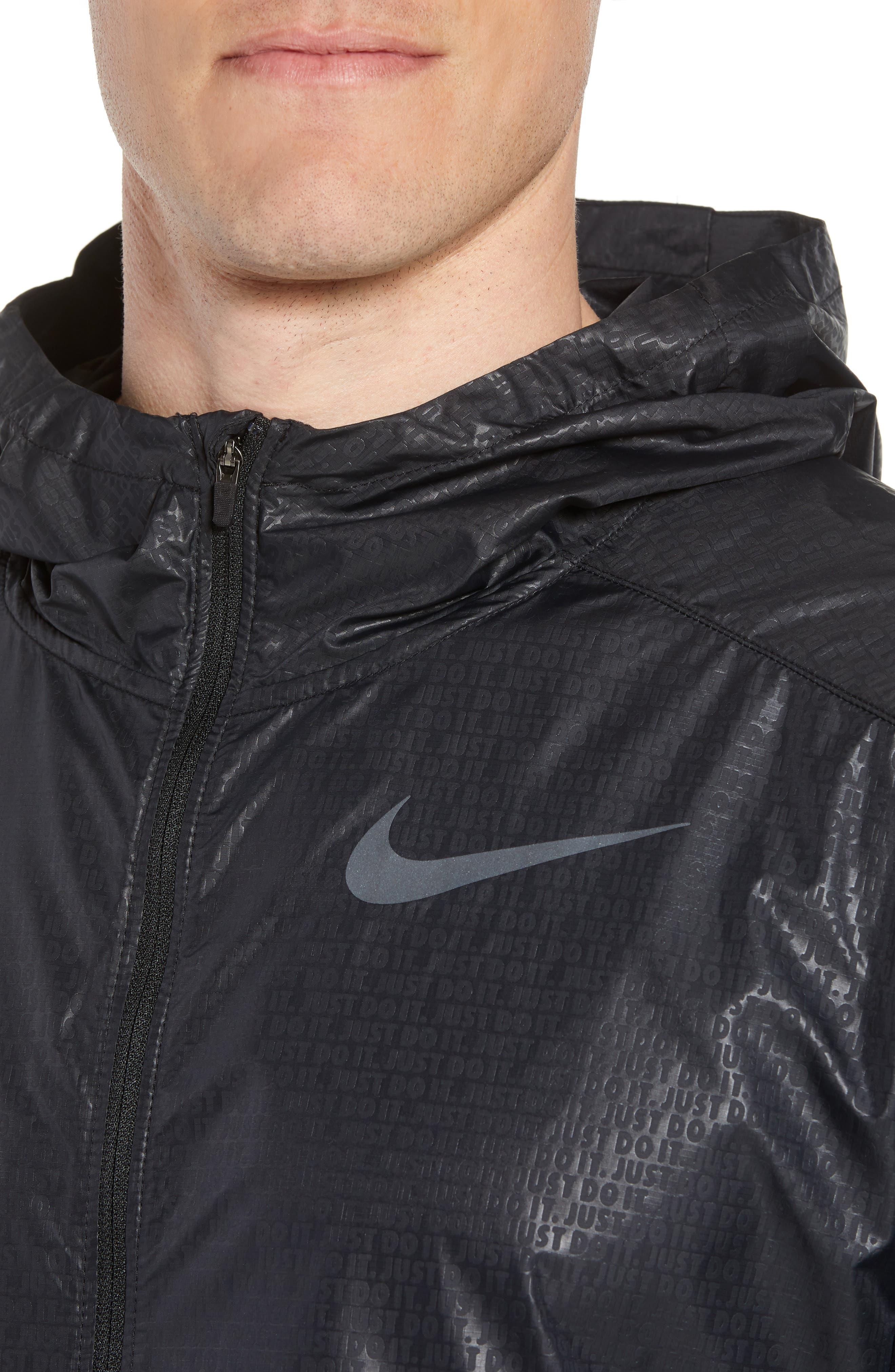 Running Shield Short Sleeve Hooded Jacket,                             Alternate thumbnail 4, color,                             BLACK