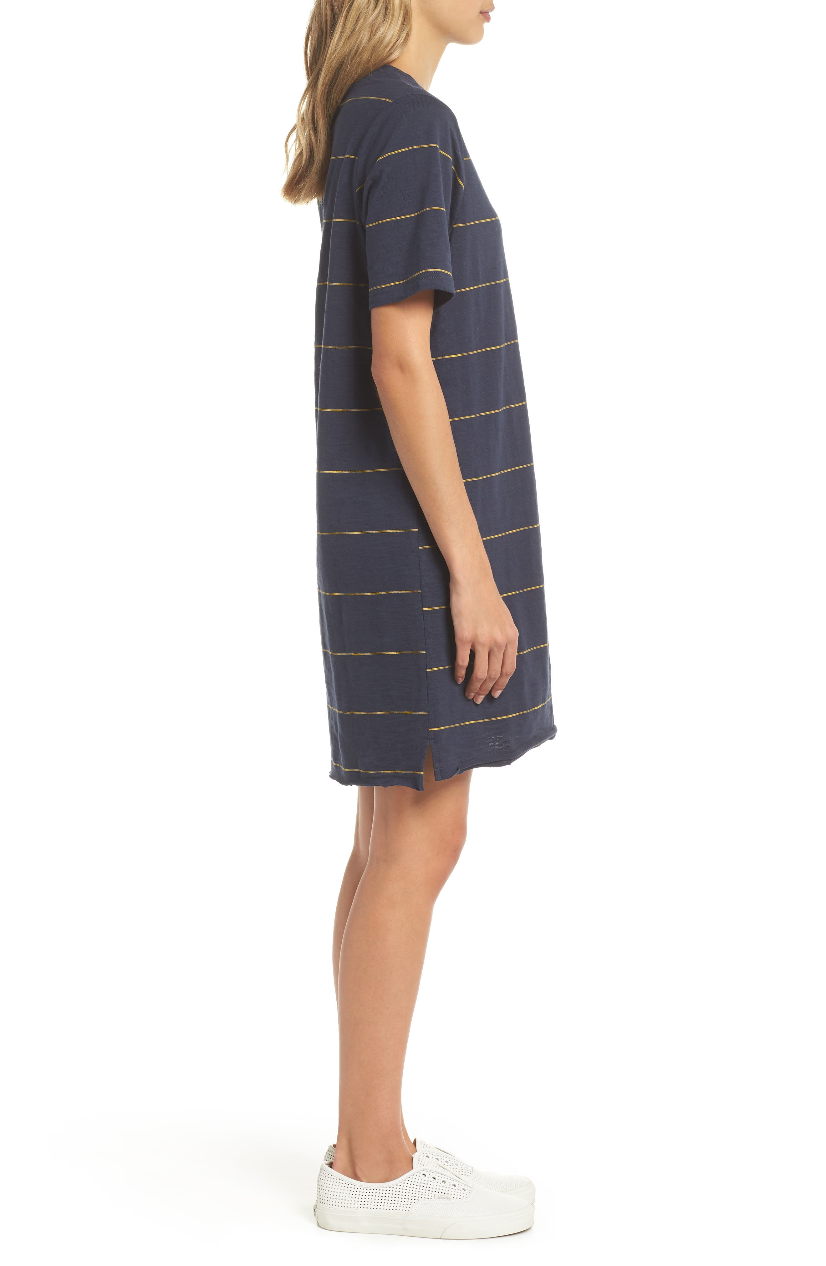 Sunset Stripe T-Shirt Dress,                             Alternate thumbnail 3, color,