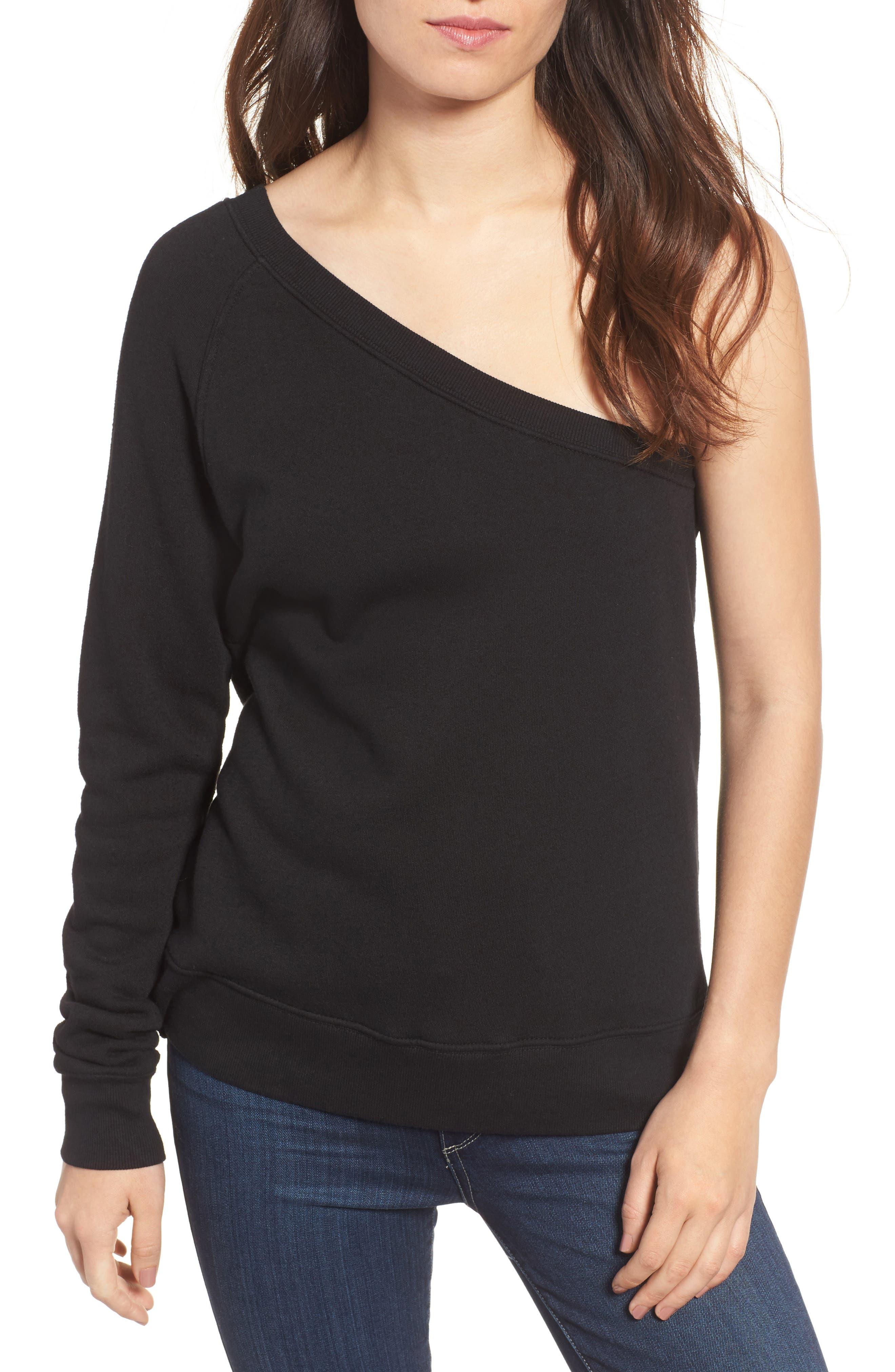 One-Shoulder Sweatshirt,                             Main thumbnail 1, color,                             001