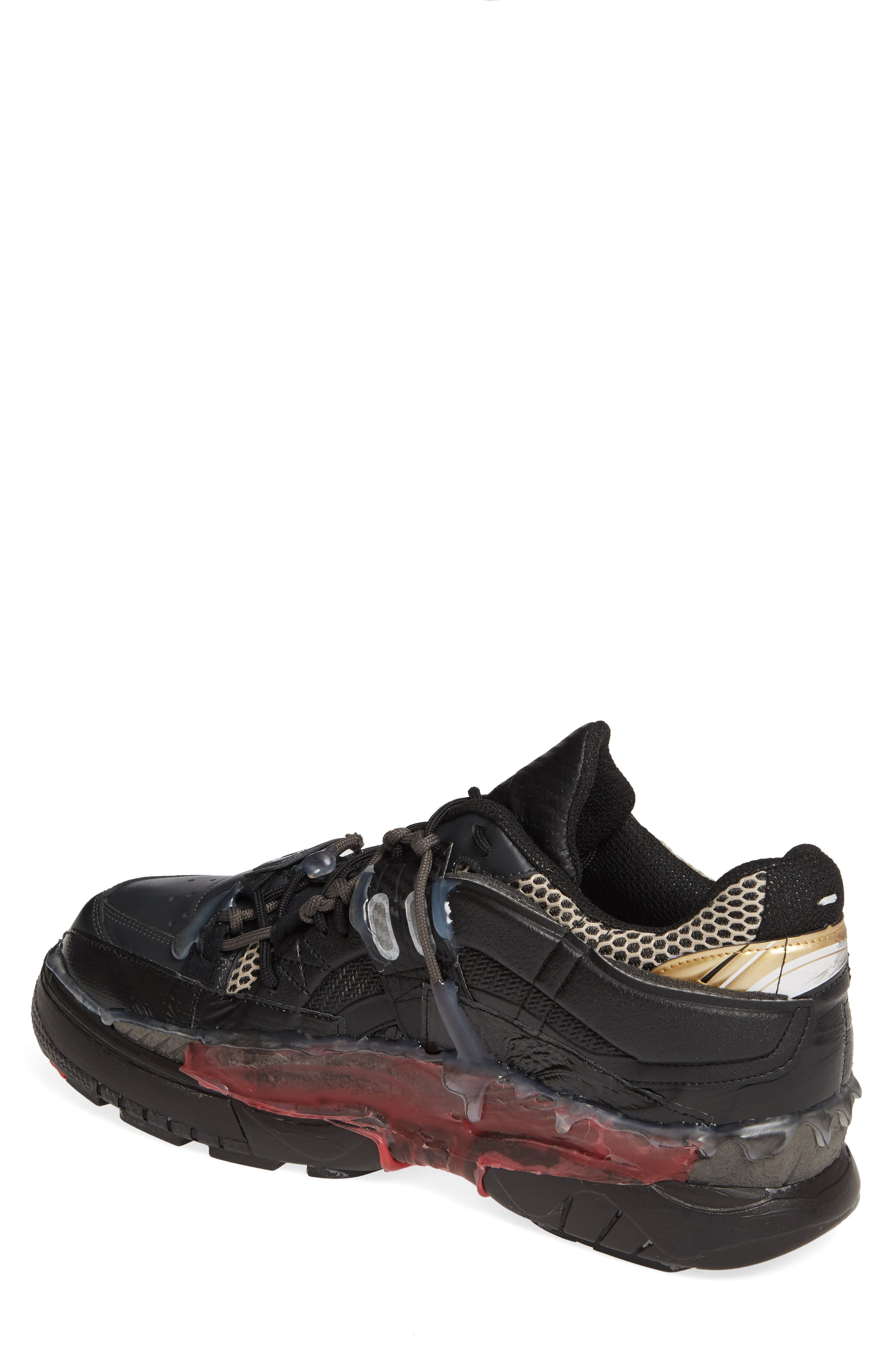 MM6 MAISON MARGIELA,                             Maison Margiela Fusion Sneaker,                             Alternate thumbnail 2, color,                             BLACK/ GOLD/ RED