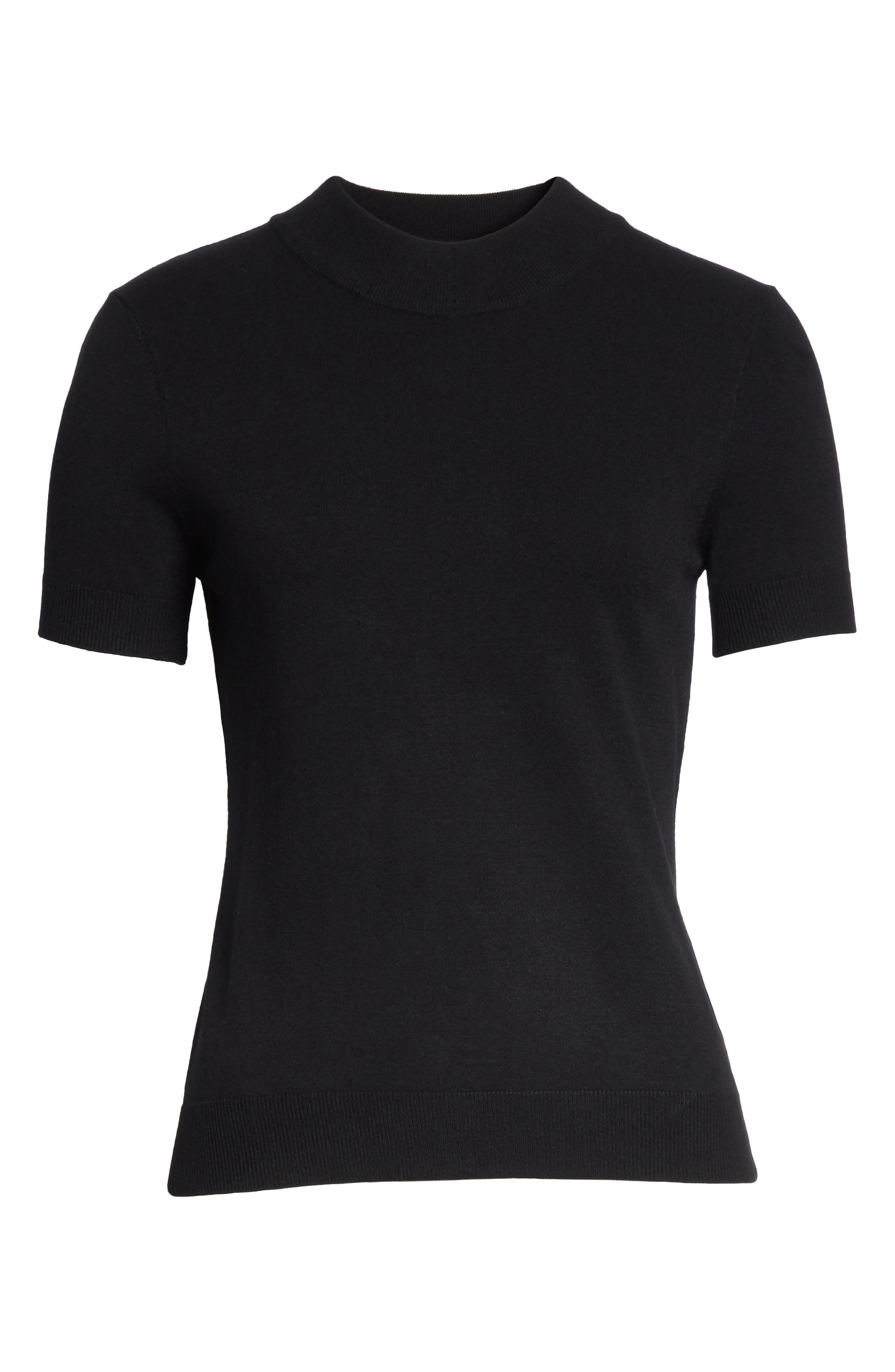 MILLY,                             Mock Neck Tee,                             Alternate thumbnail 6, color,                             001