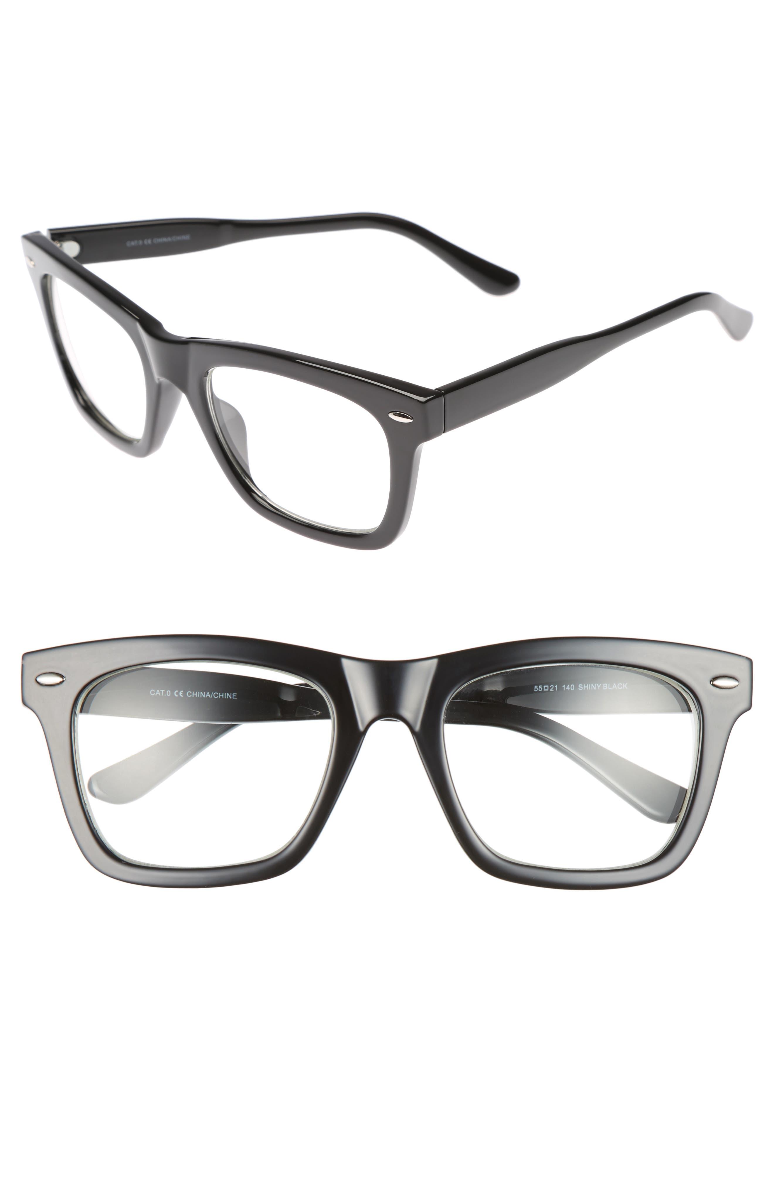 Julian 55mm Square Sunglasses,                             Main thumbnail 1, color,                             BLACK/ CLEAR