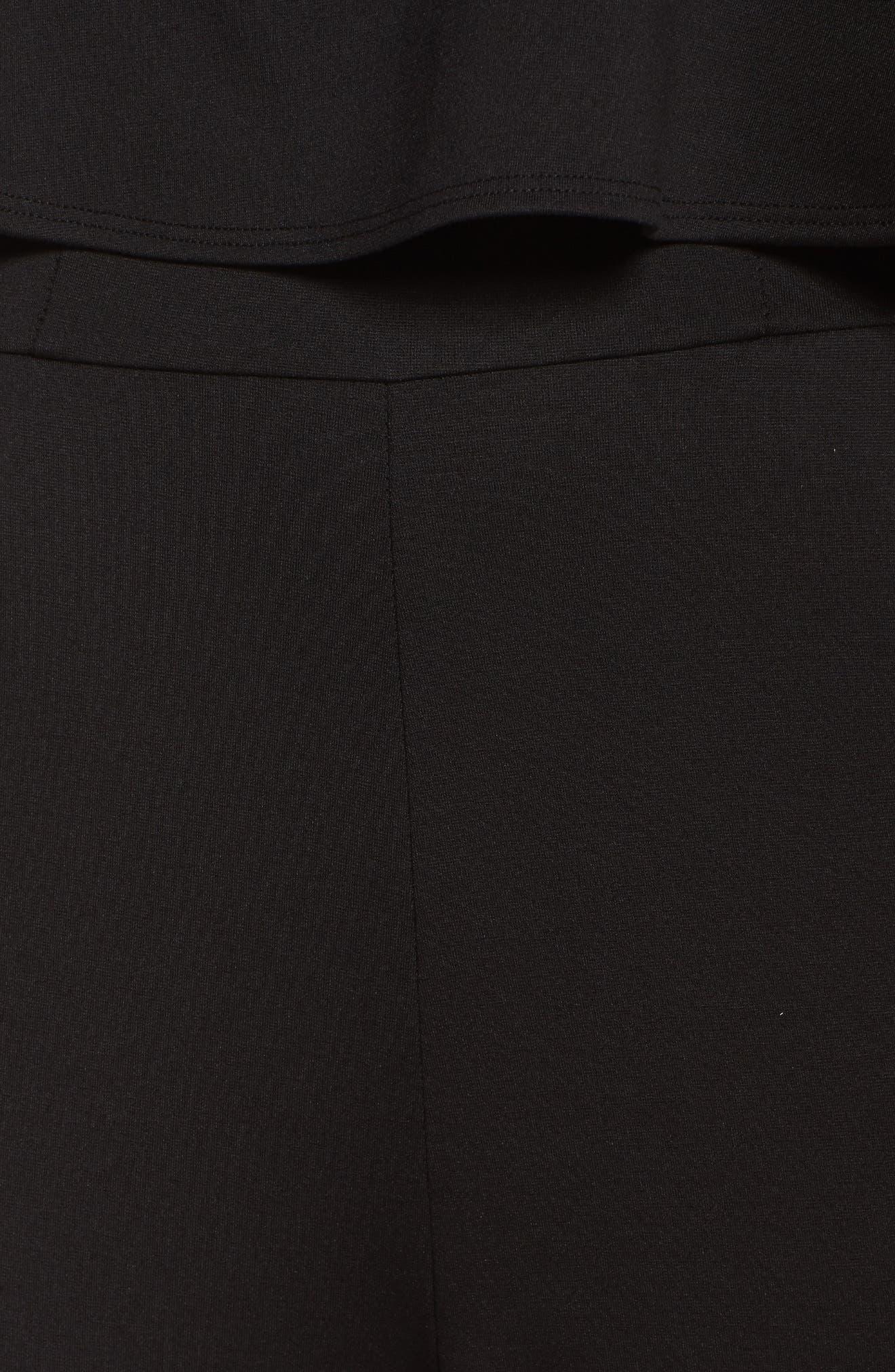 Strapless Ruffle Jumpsuit,                             Alternate thumbnail 5, color,                             BLACK
