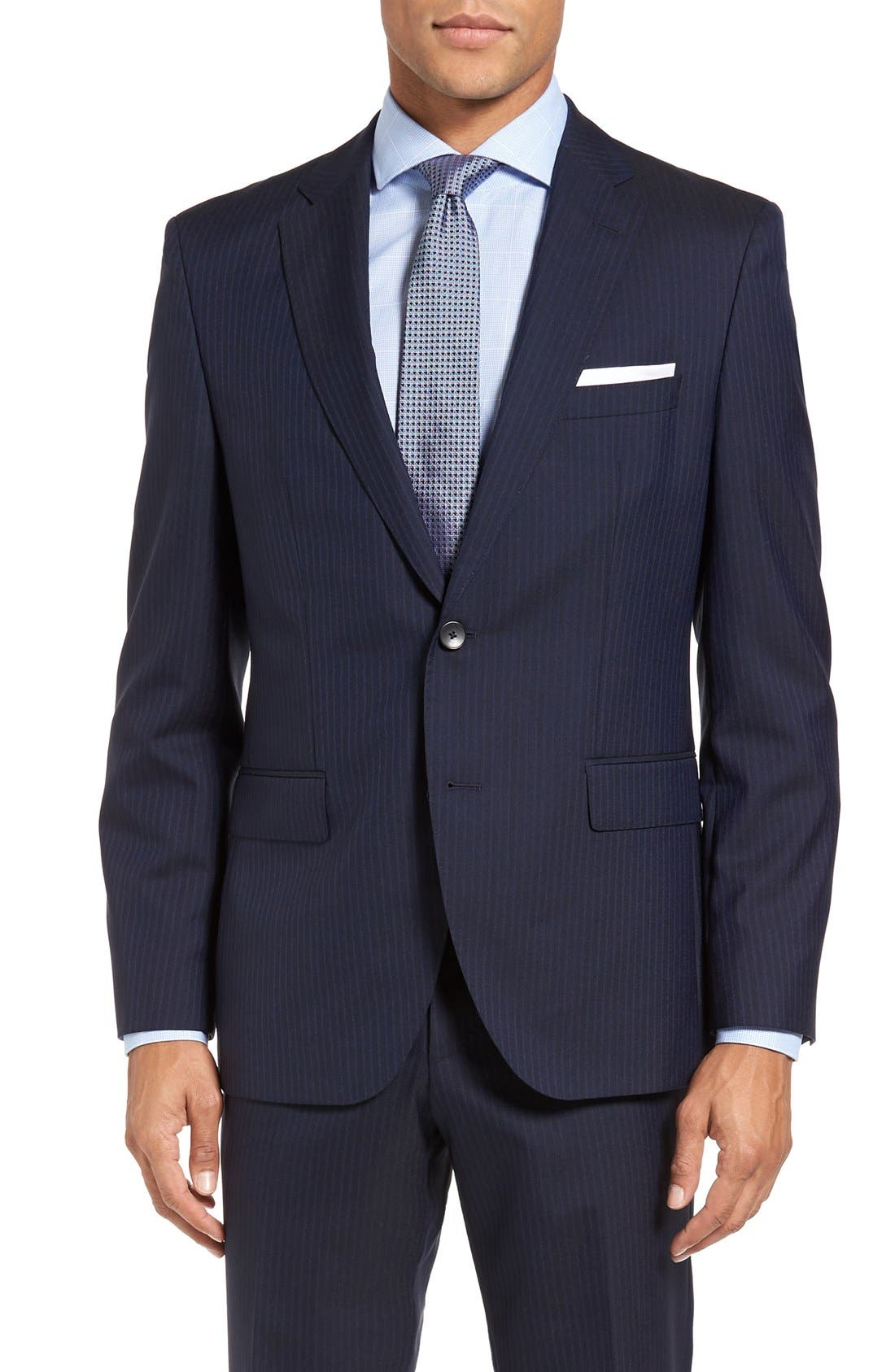 BOSS Johnstons/Lenon Trim Fit Stripe Wool Suit,                             Alternate thumbnail 5, color,                             402