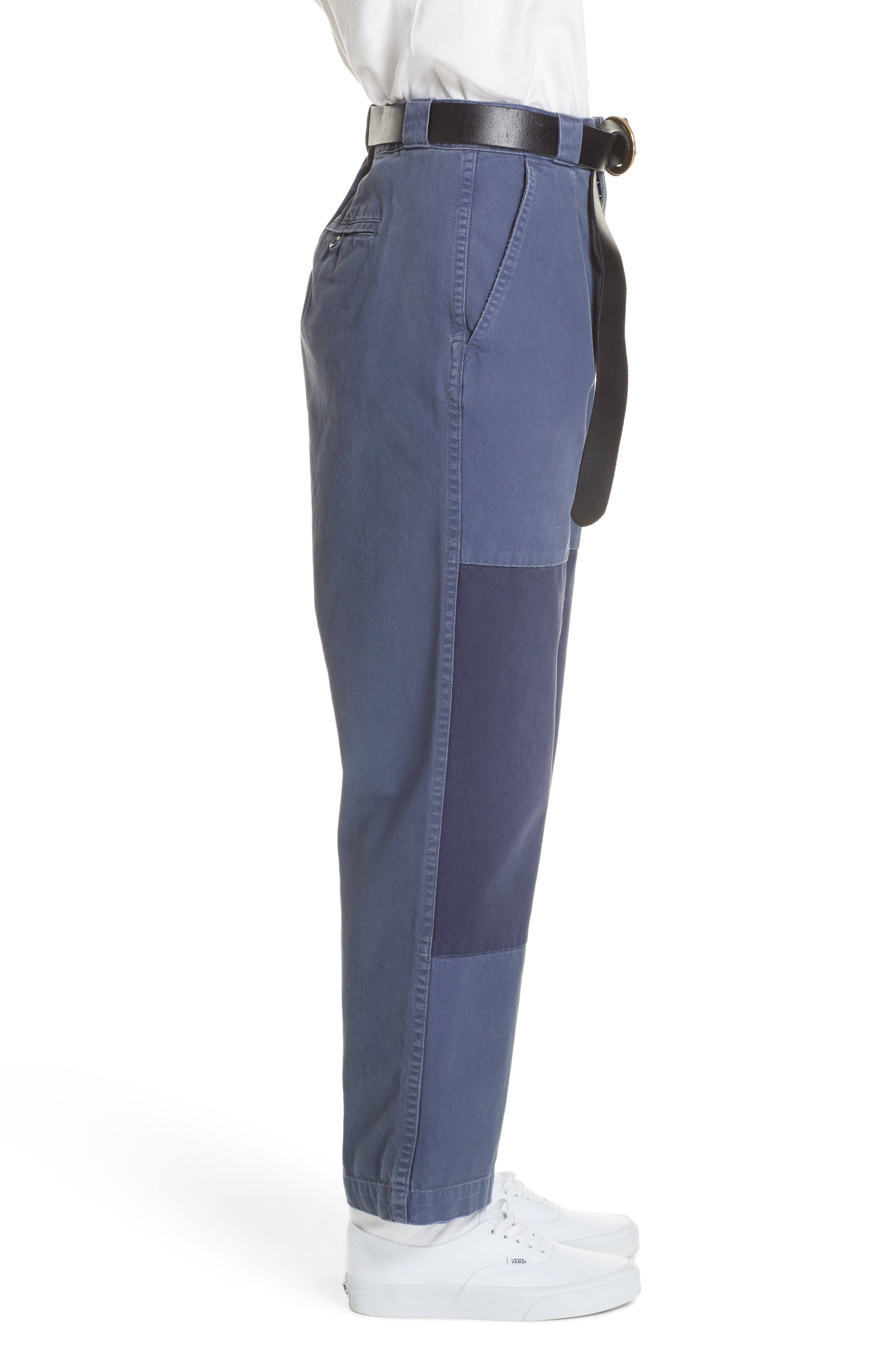 Patched Wide Leg Pants,                             Alternate thumbnail 3, color,                             NEW CLASSIC NAVY/ LIGHT NAVY