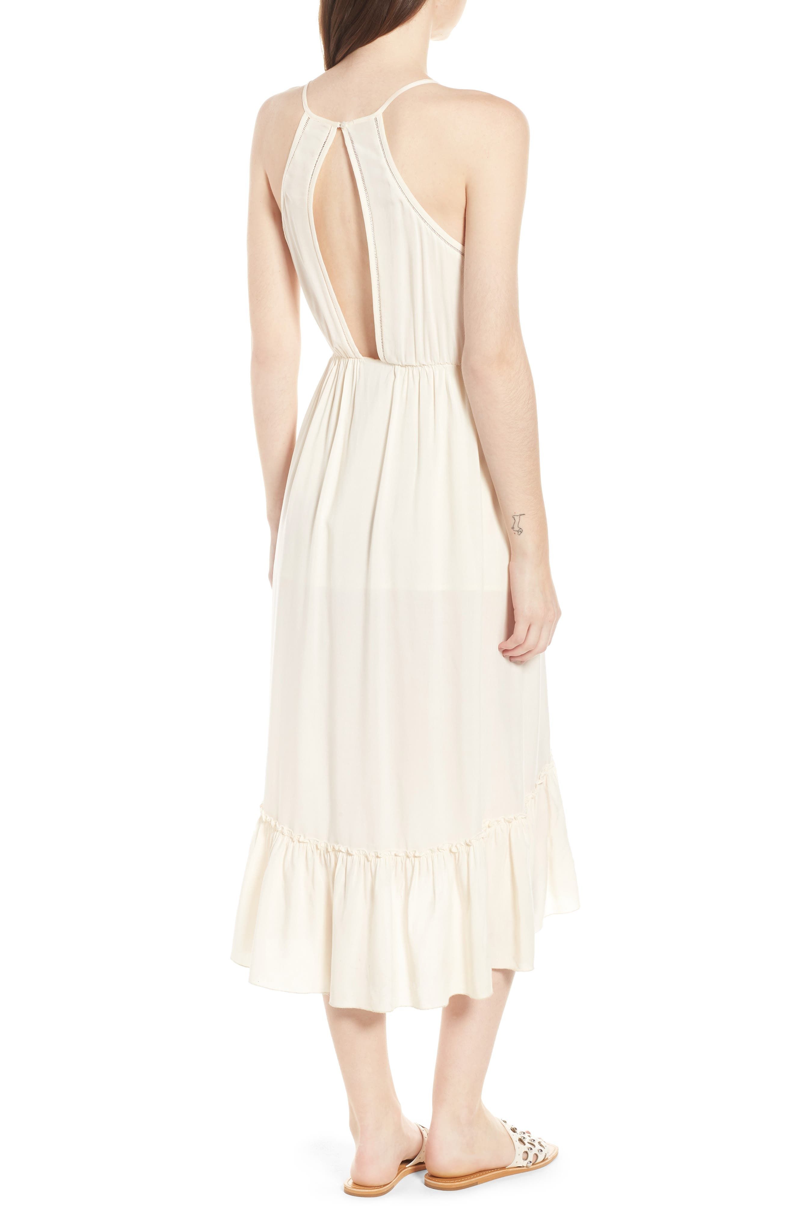 Wrap Style Midi Dress,                             Alternate thumbnail 2, color,                             COLOR 01 OFF WHITE