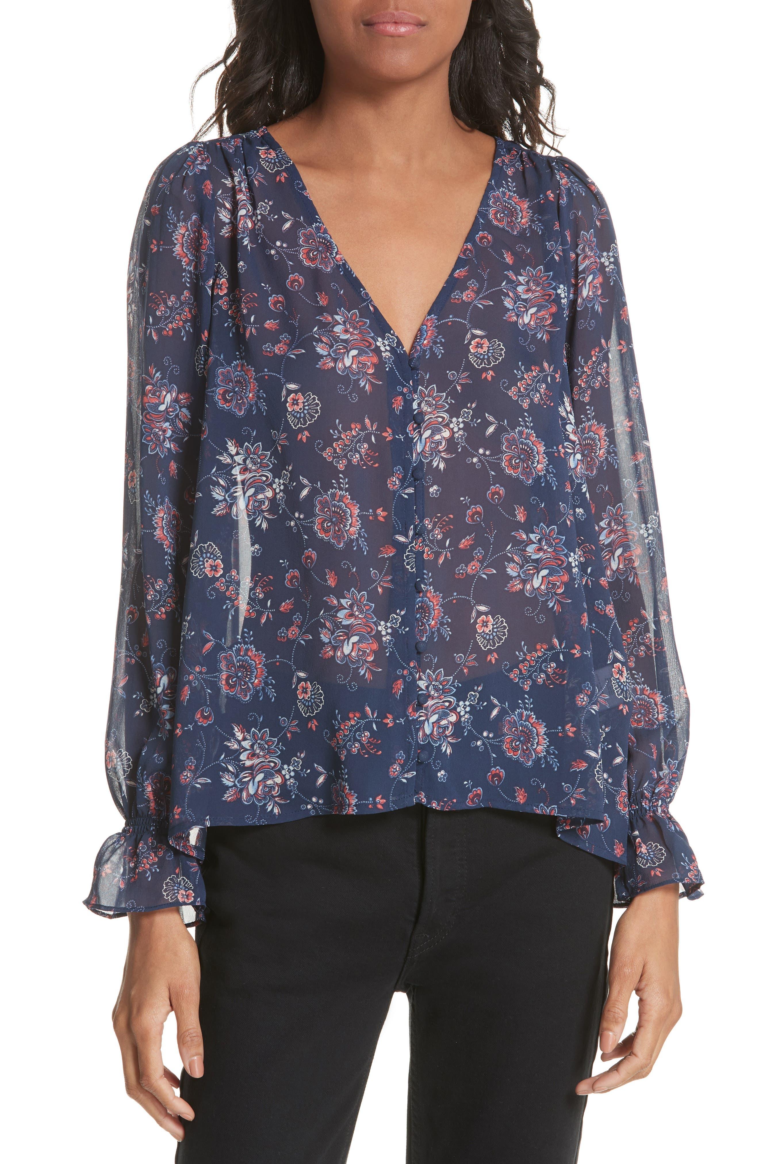Bolona Floral Silk Blouse,                             Main thumbnail 1, color,                             418