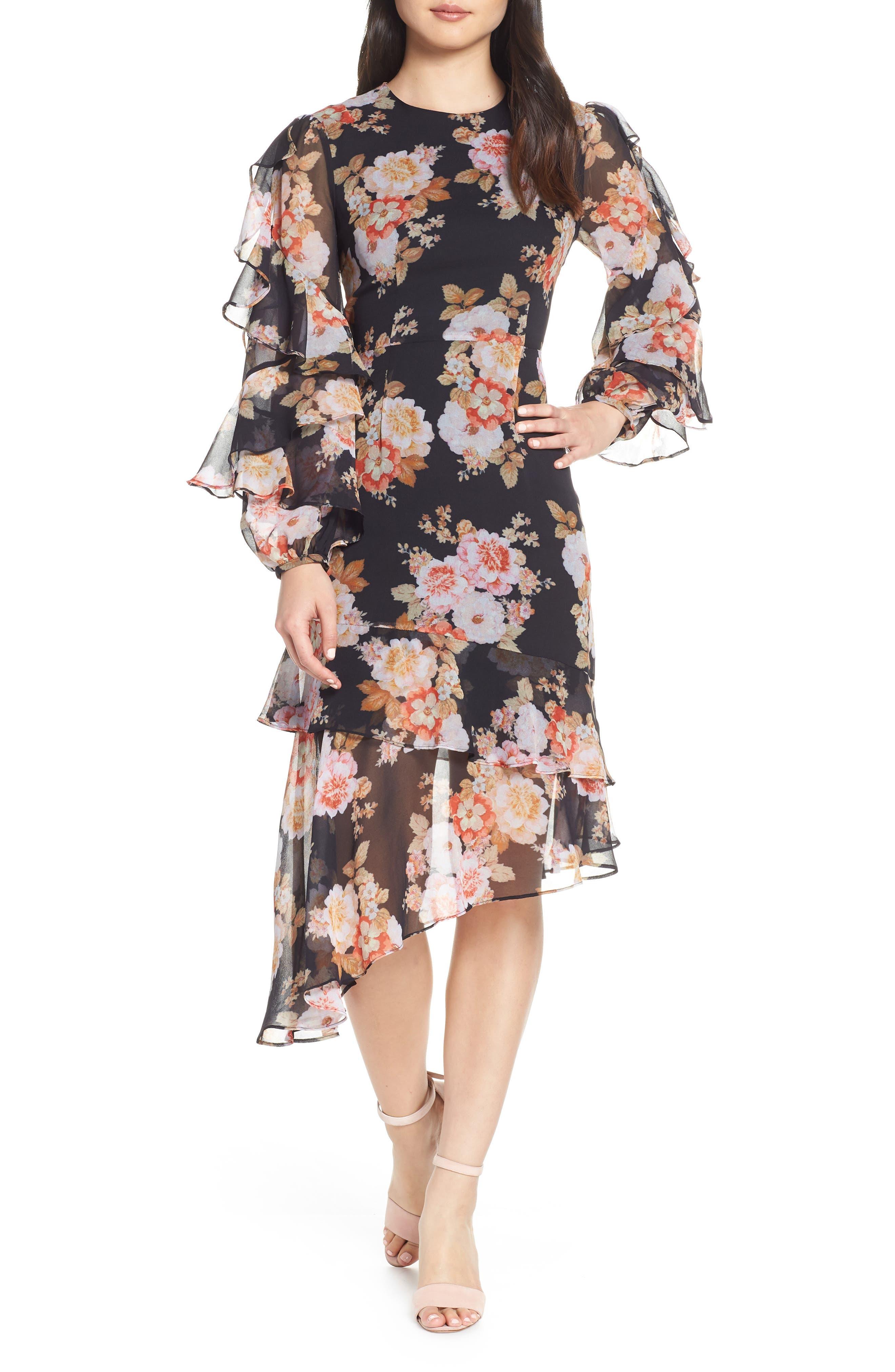 Cooper St Chateau Ruffle Sleeve Floral Midi Dress, Black