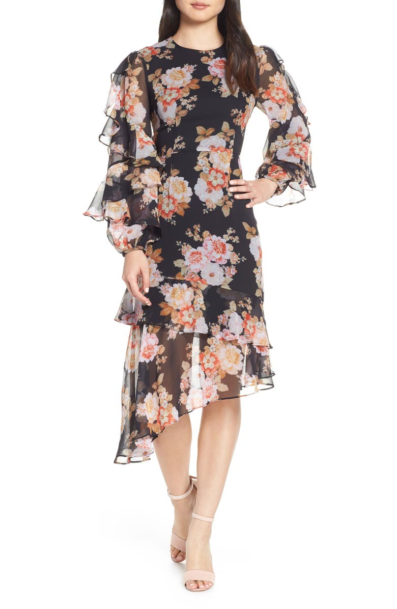Chateau Ruffle Sleeve Floral Midi Dress