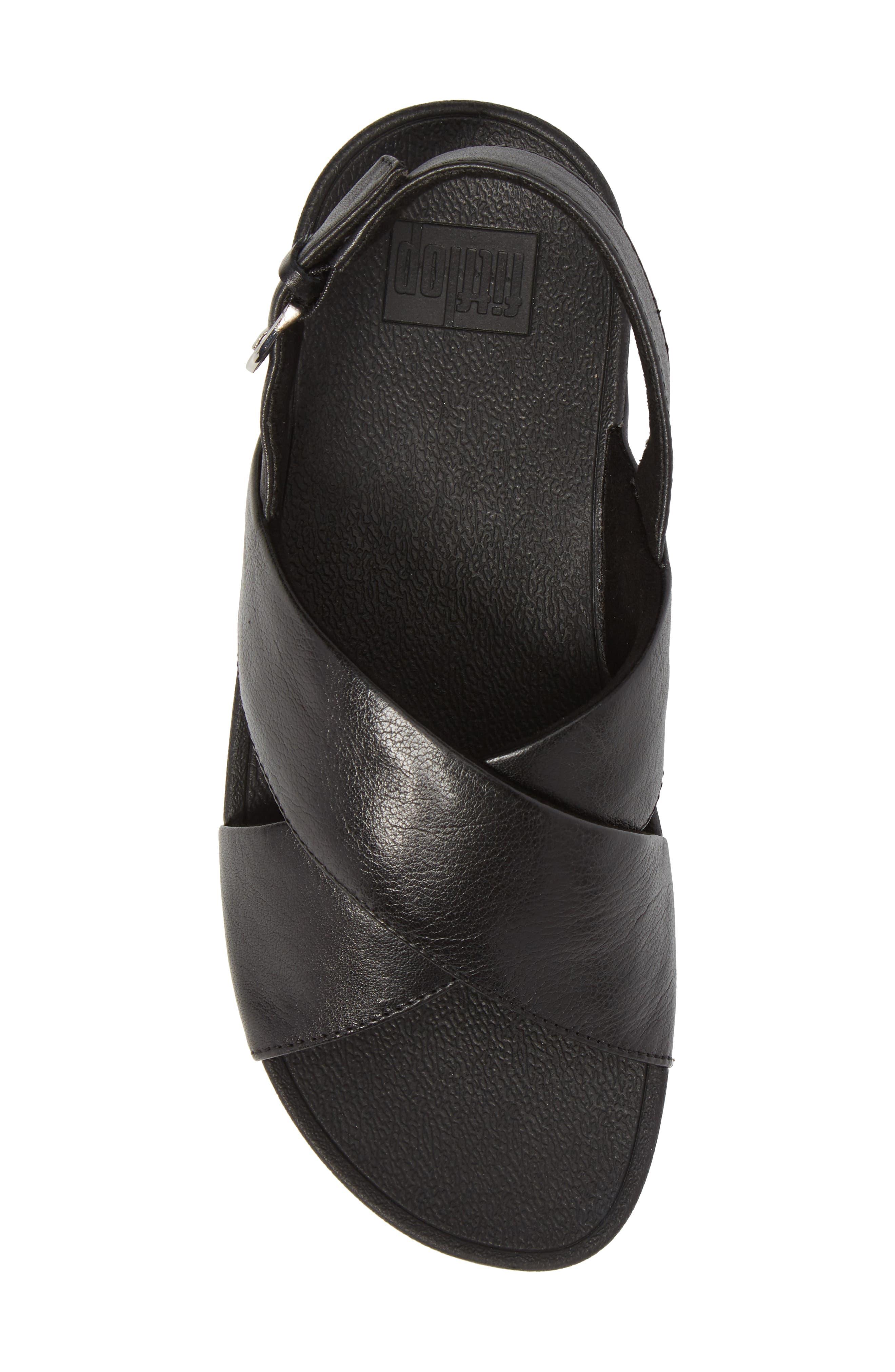 Lulu Crisscross Sandal,                             Alternate thumbnail 5, color,                             BLACK