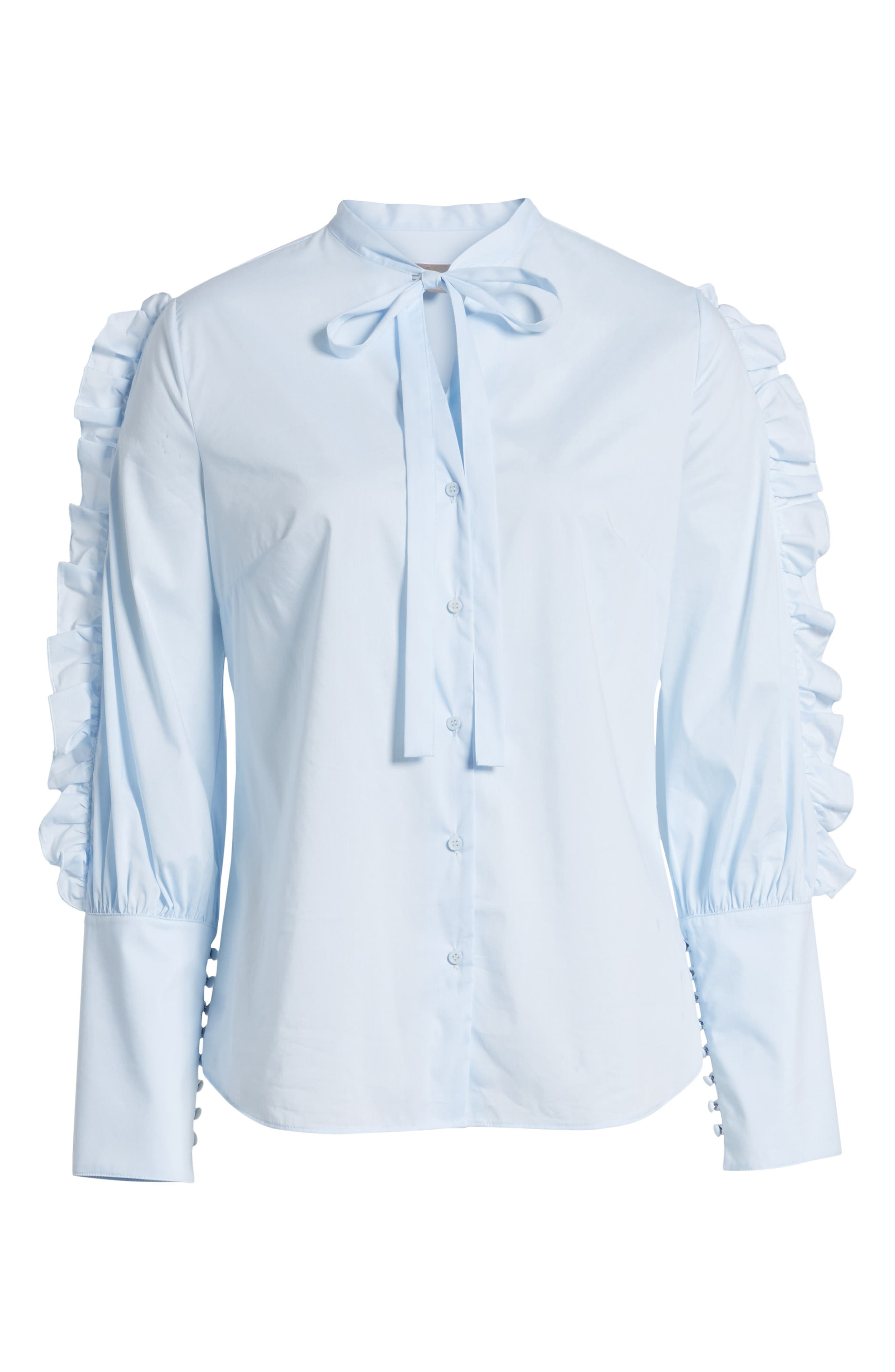 Ruffle Sleeve Poplin Blouse,                             Alternate thumbnail 6, color,                             450