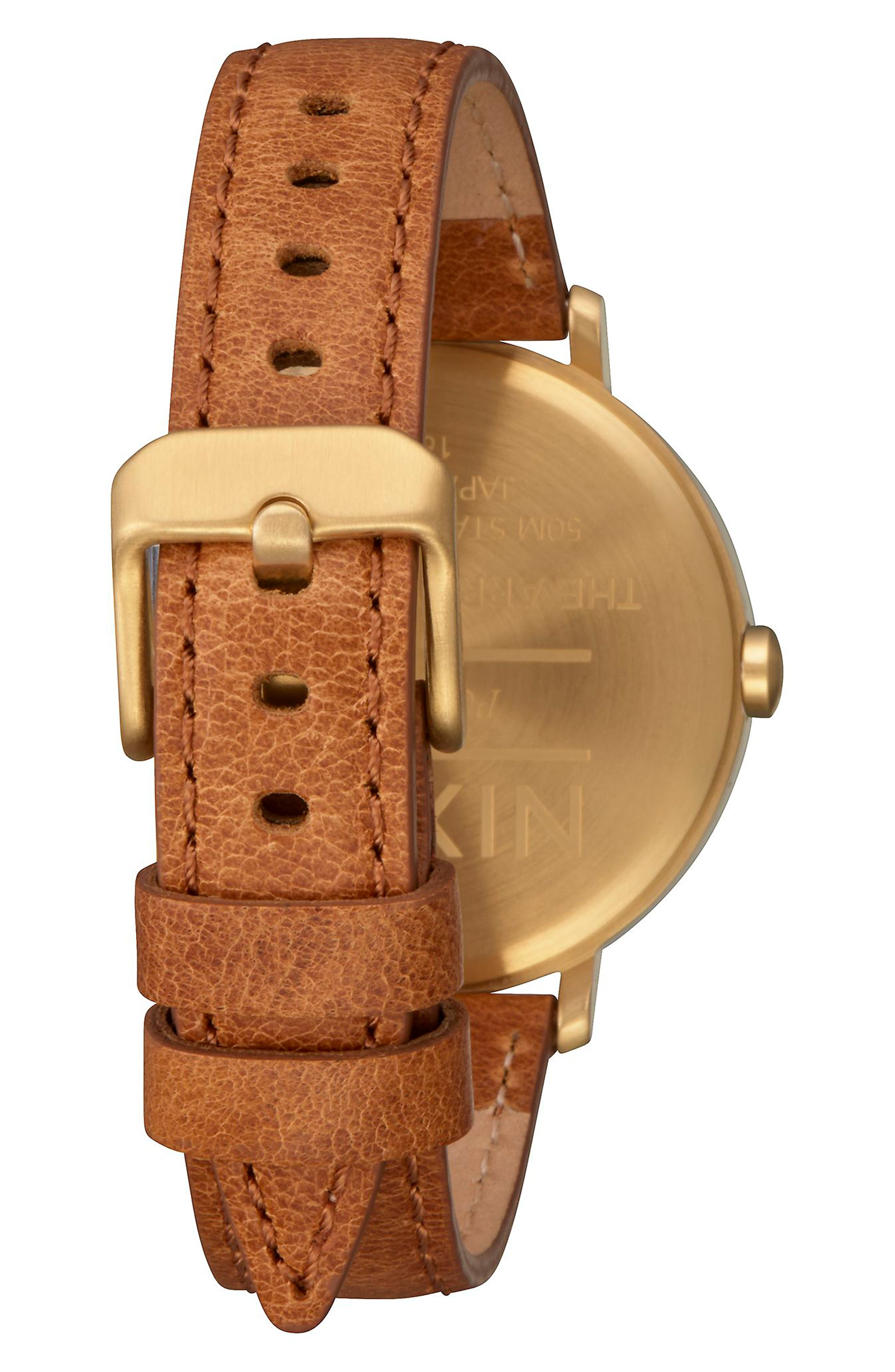 The Arrow Leather Strap Watch, 38mm,                             Alternate thumbnail 2, color,                             SADDLE/ WHITE/ GOLD