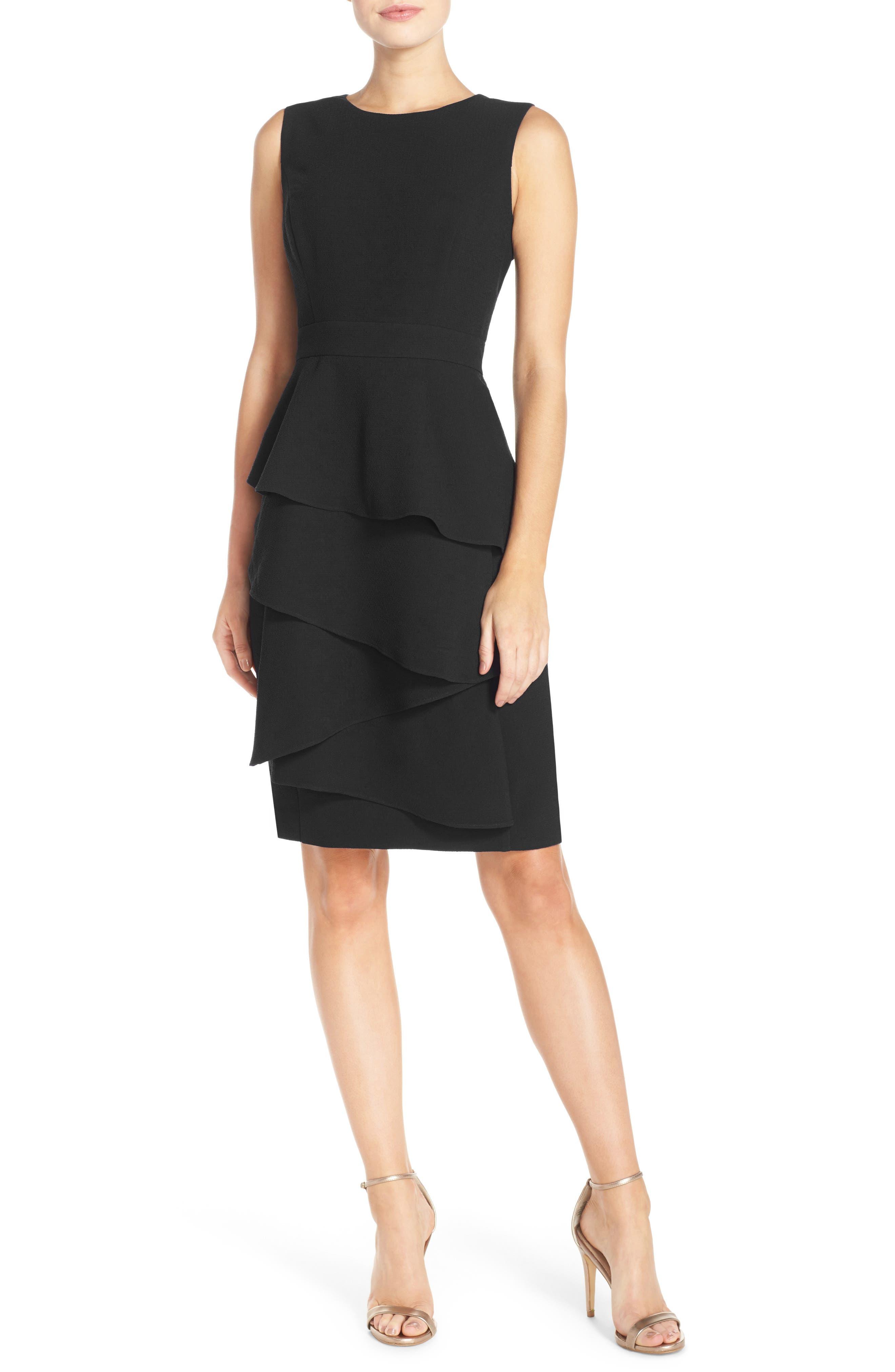 Eliza J Ella Ruffle Cascade Crepe Sheath Dress, Black