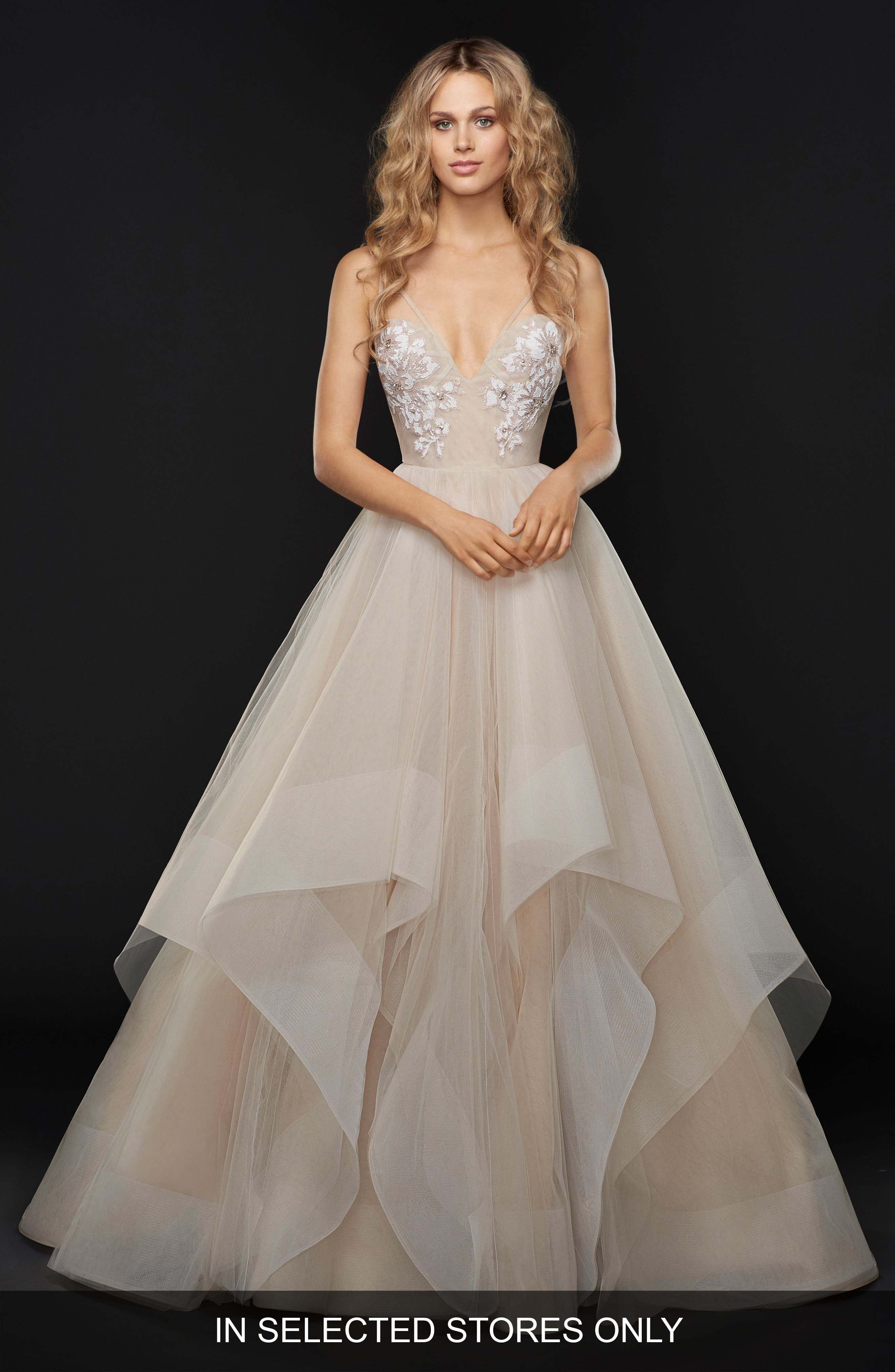 Keagan Embellished Tulle Ballgown,                             Main thumbnail 1, color,                             SWEET HONEY BEE