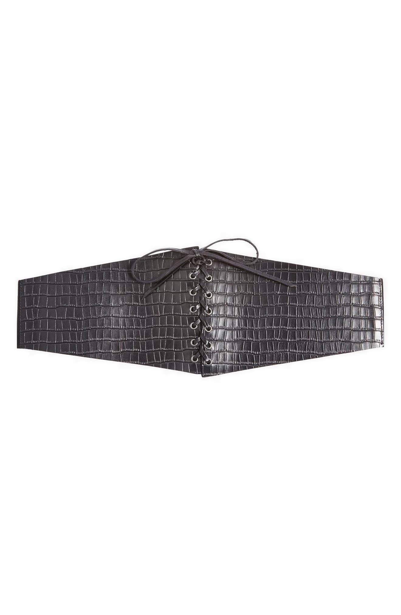 Croc Embossed Lace-Up Corset Belt,                         Main,                         color, 001