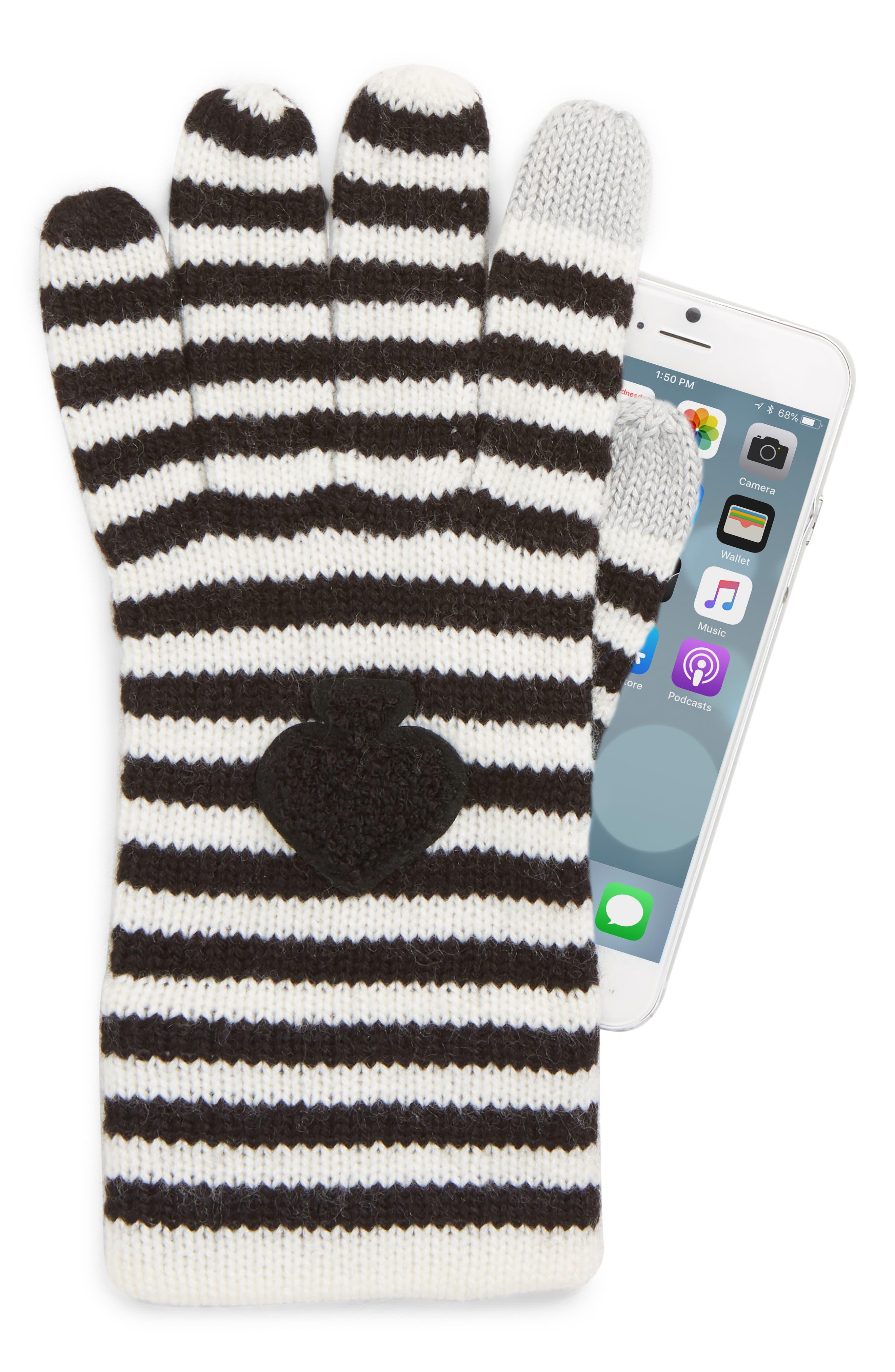 stripe tech gloves,                             Alternate thumbnail 2, color,                             BLACK/ CREAM