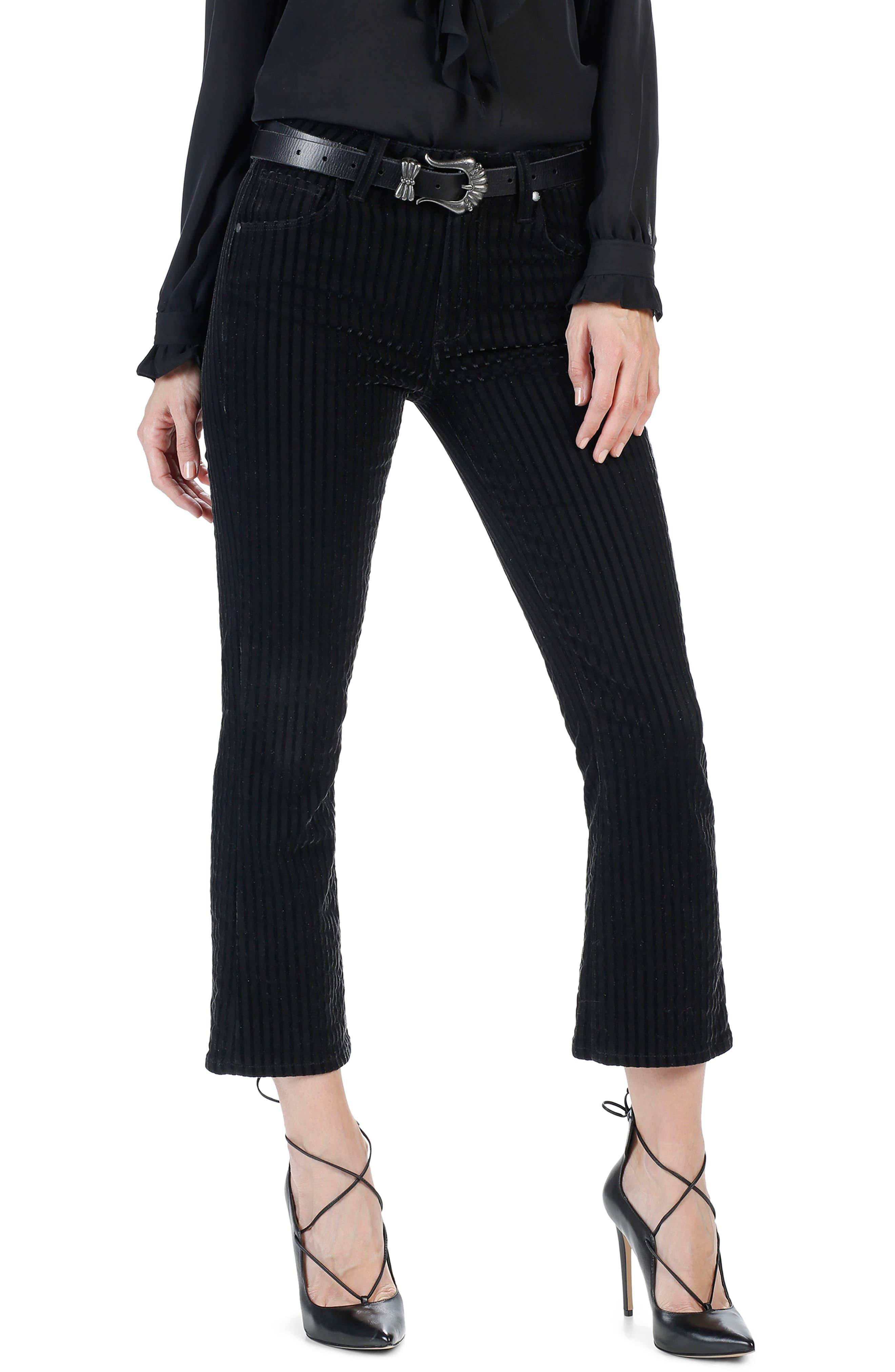 Colette High Waist Crop Flare Velvet Pants,                             Alternate thumbnail 2, color,                             001