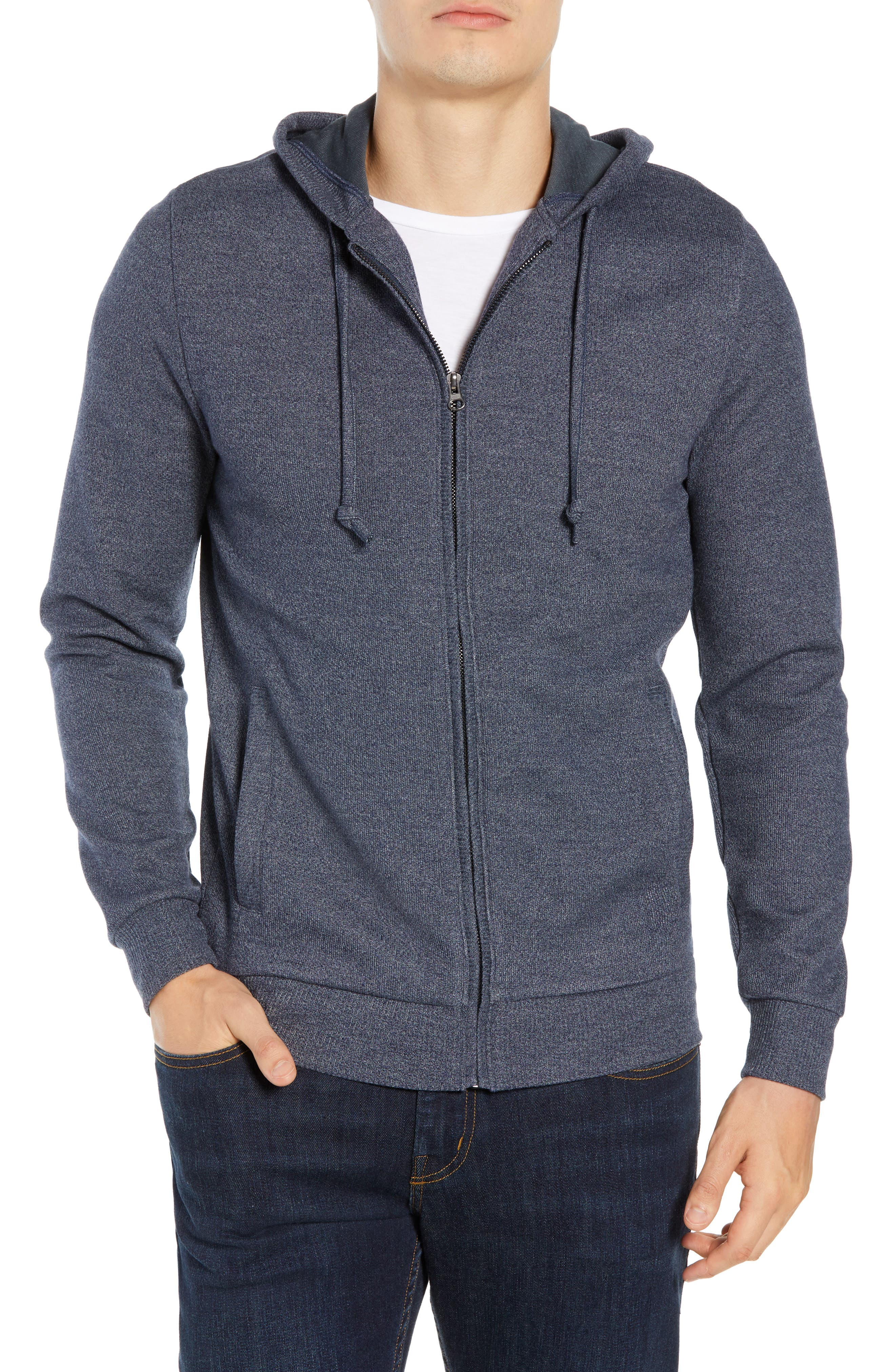 TRAVIS MATHEW Snare Zip Front Hooded Cardigan, Main, color, 400