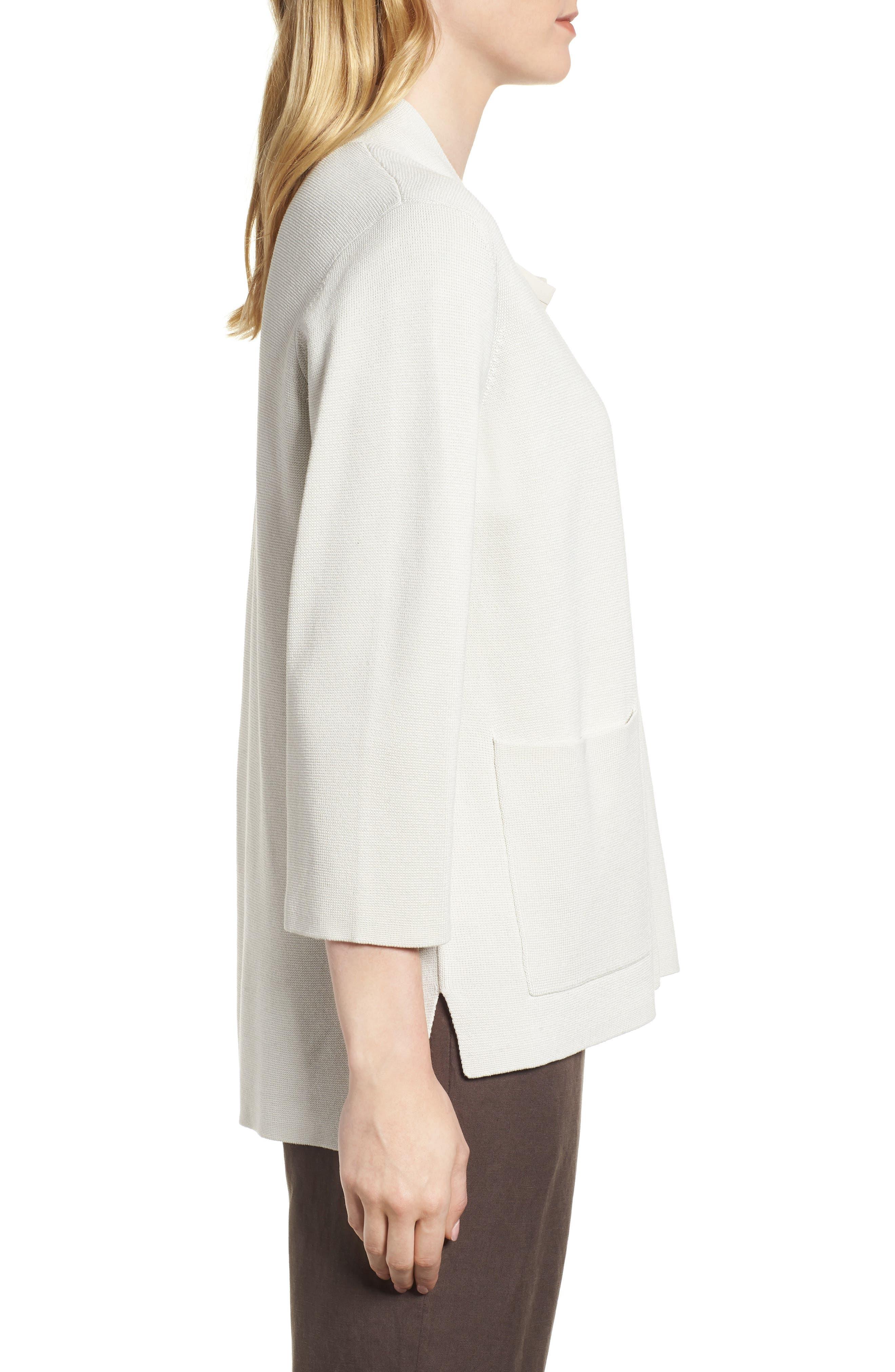 Stand Collar Silk & Organic Cotton Cardigan,                             Alternate thumbnail 7, color,