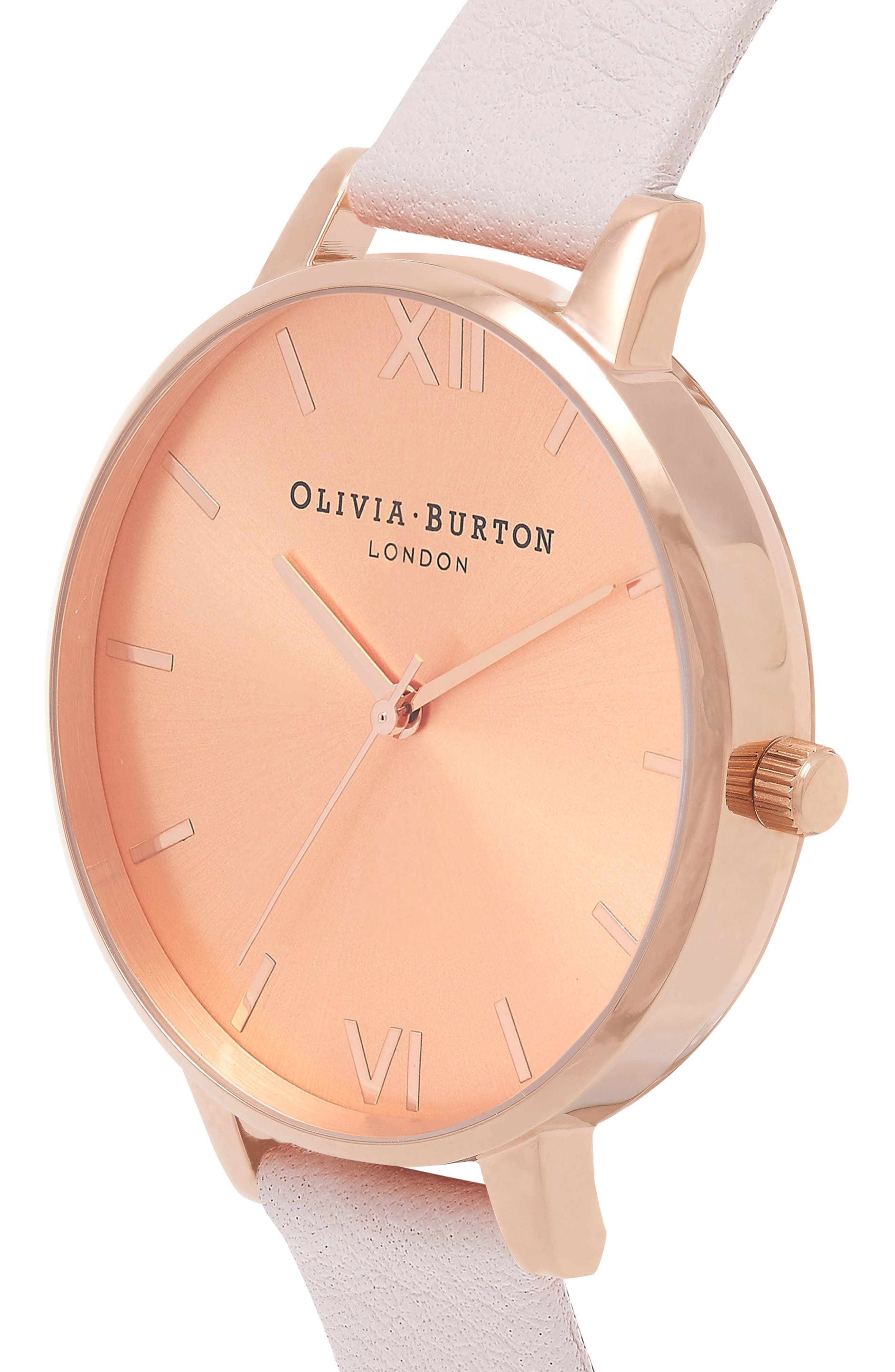 OLIVIA BURTON,                             Sunray Leather Strap Watch, 38mm,                             Alternate thumbnail 3, color,                             BLOSSOM/ ROSE GOLD