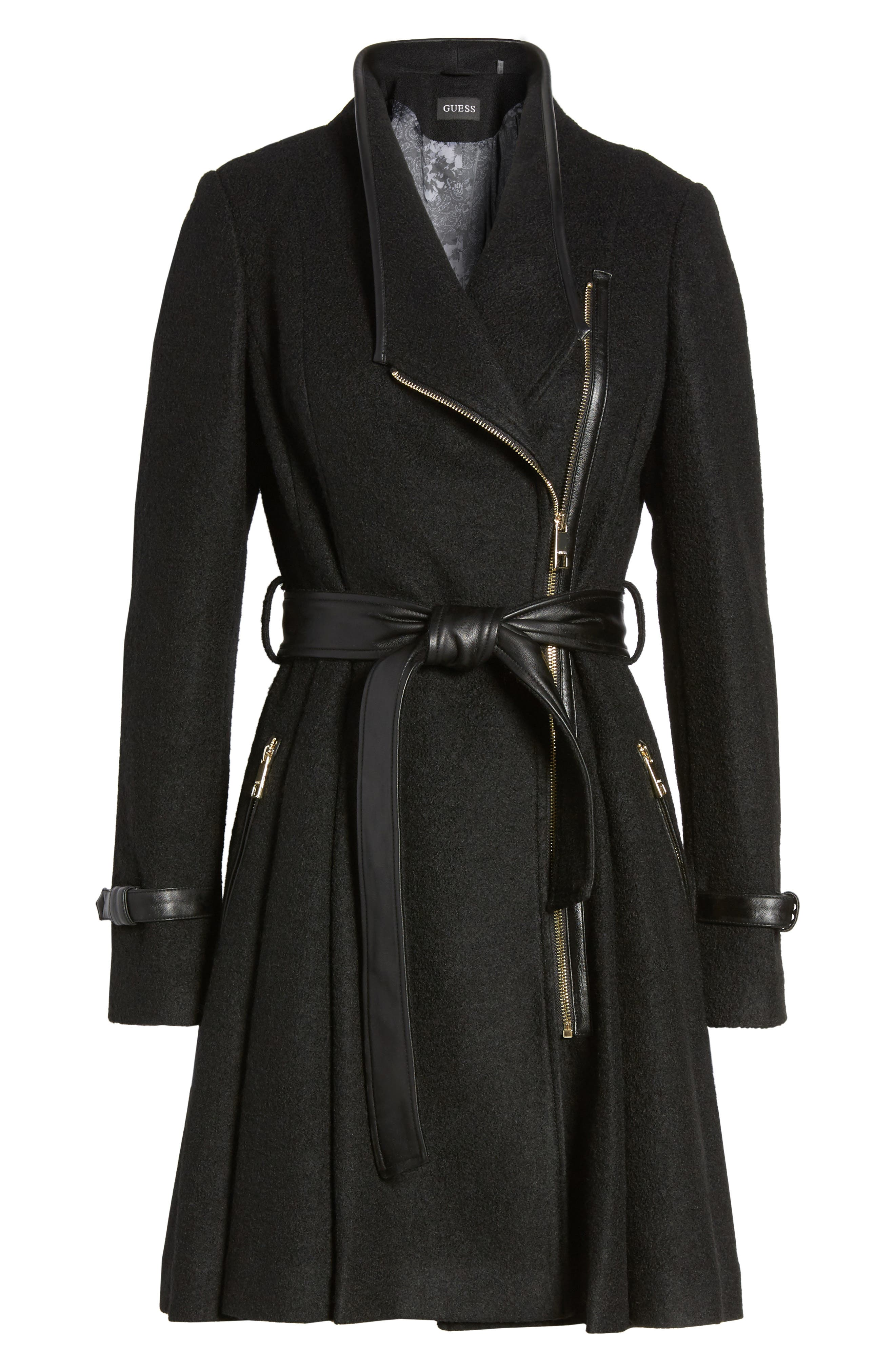 Belted Boiled Wool Blend Coat,                             Alternate thumbnail 5, color,                             001