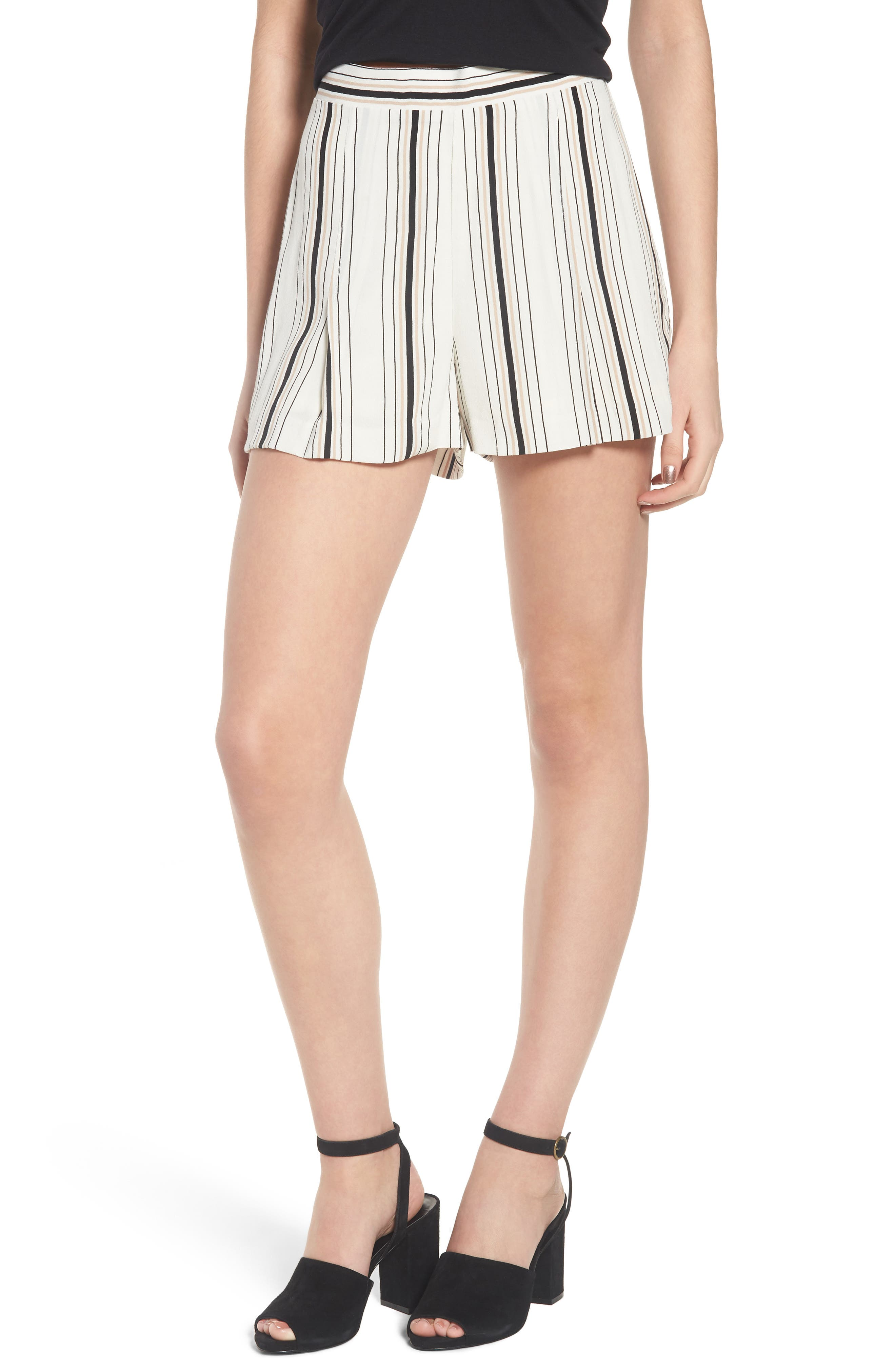 Stripe High Waist Woven Shorts,                             Main thumbnail 1, color,