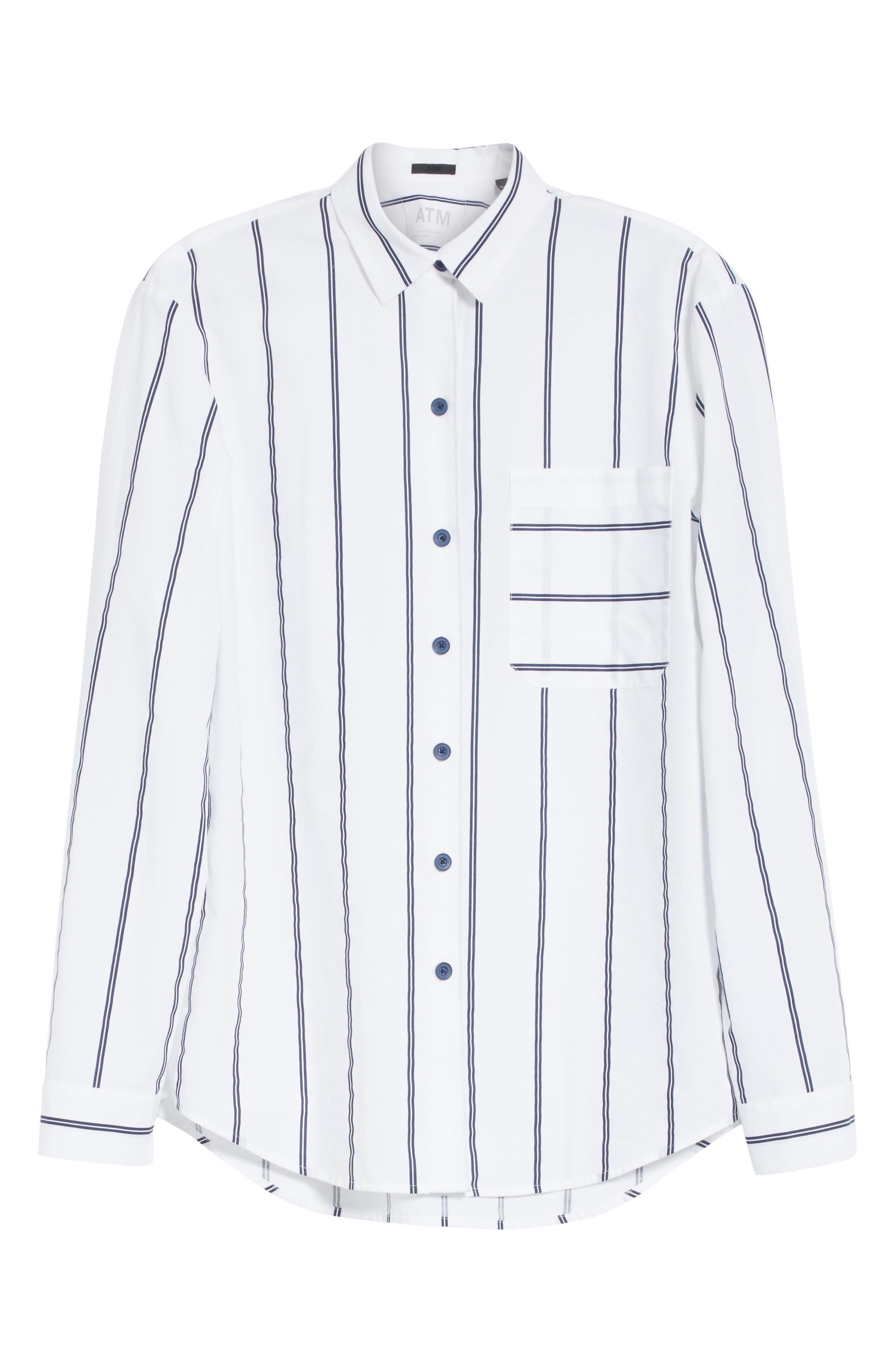 Railroad Stripe Boyfriend Shirt,                             Alternate thumbnail 6, color,                             115