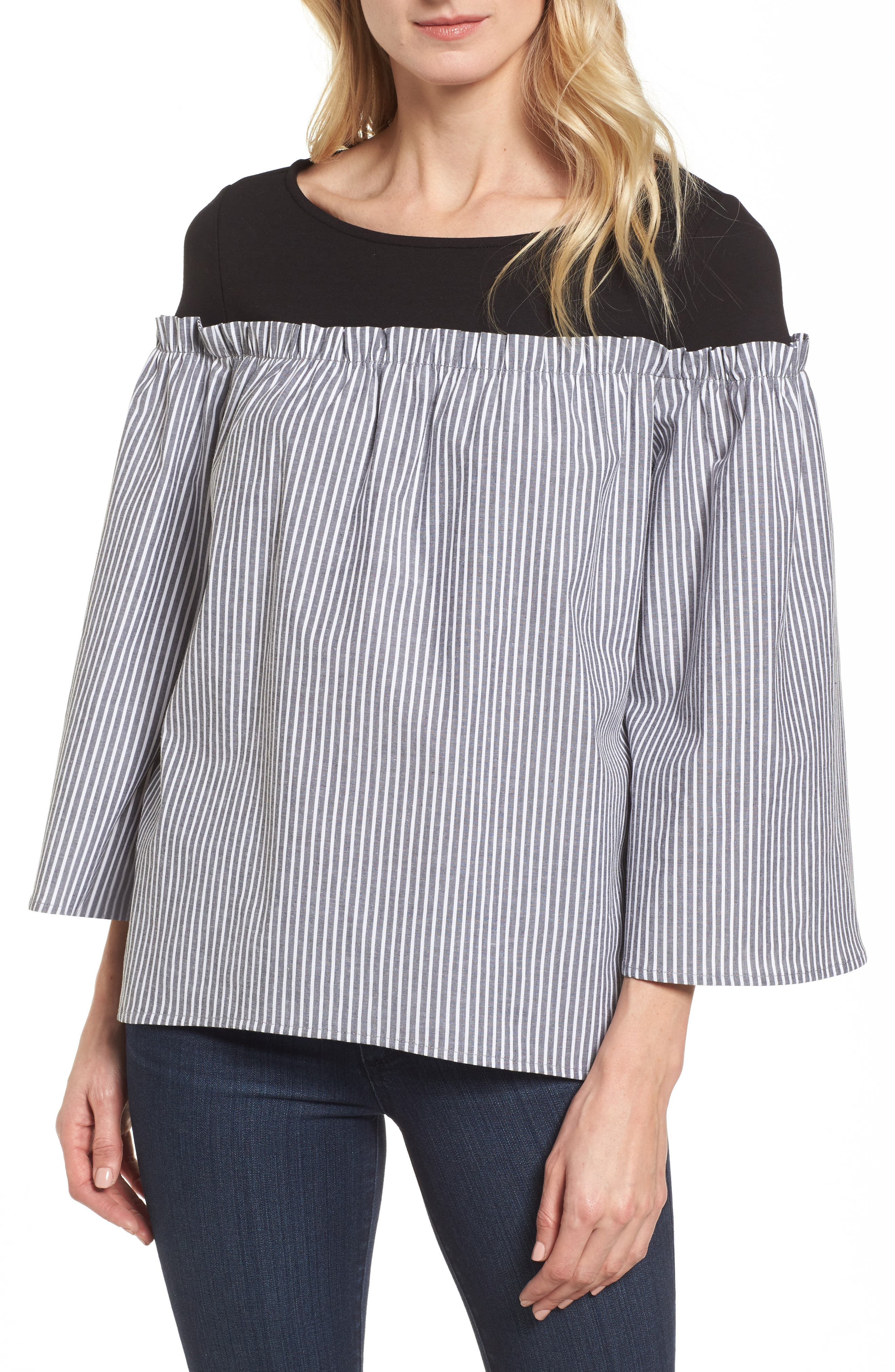 Ruffle Detail Mix Media High/Low Shirt,                         Main,                         color,