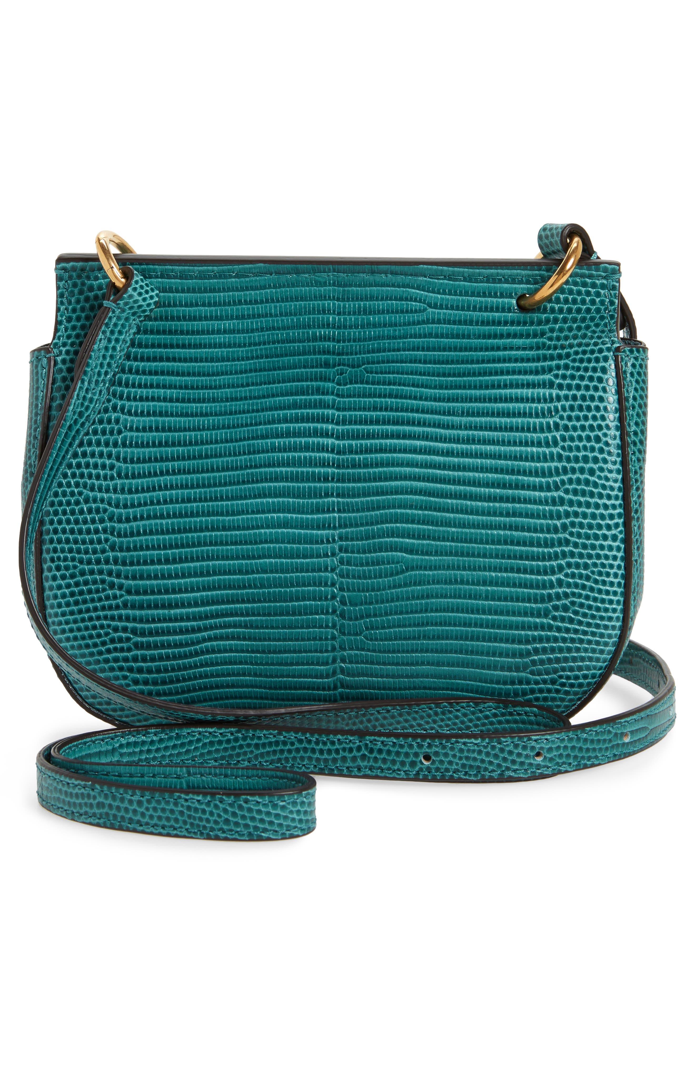 Mini Amberley Reptile Embossed Leather Crossbody Bag,                             Alternate thumbnail 3, color,                             401