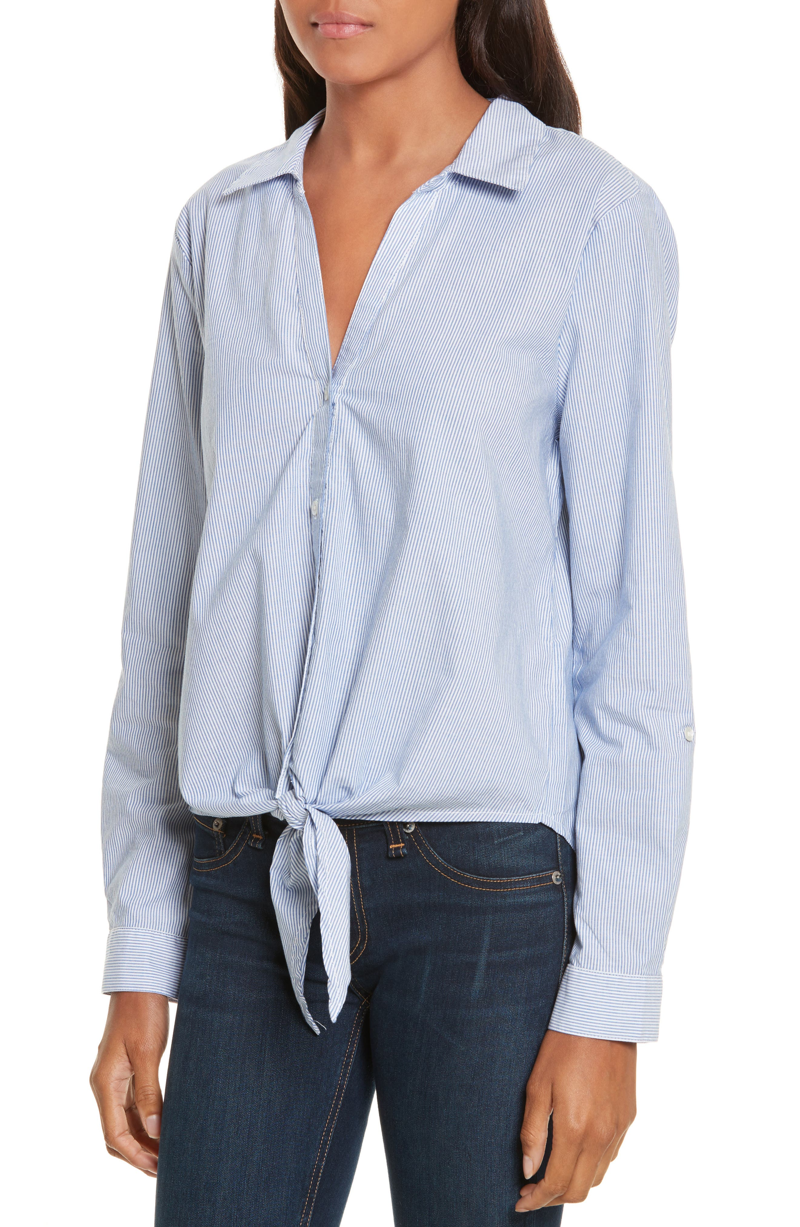Crysta Tie Front Shirt,                             Alternate thumbnail 4, color,                             473