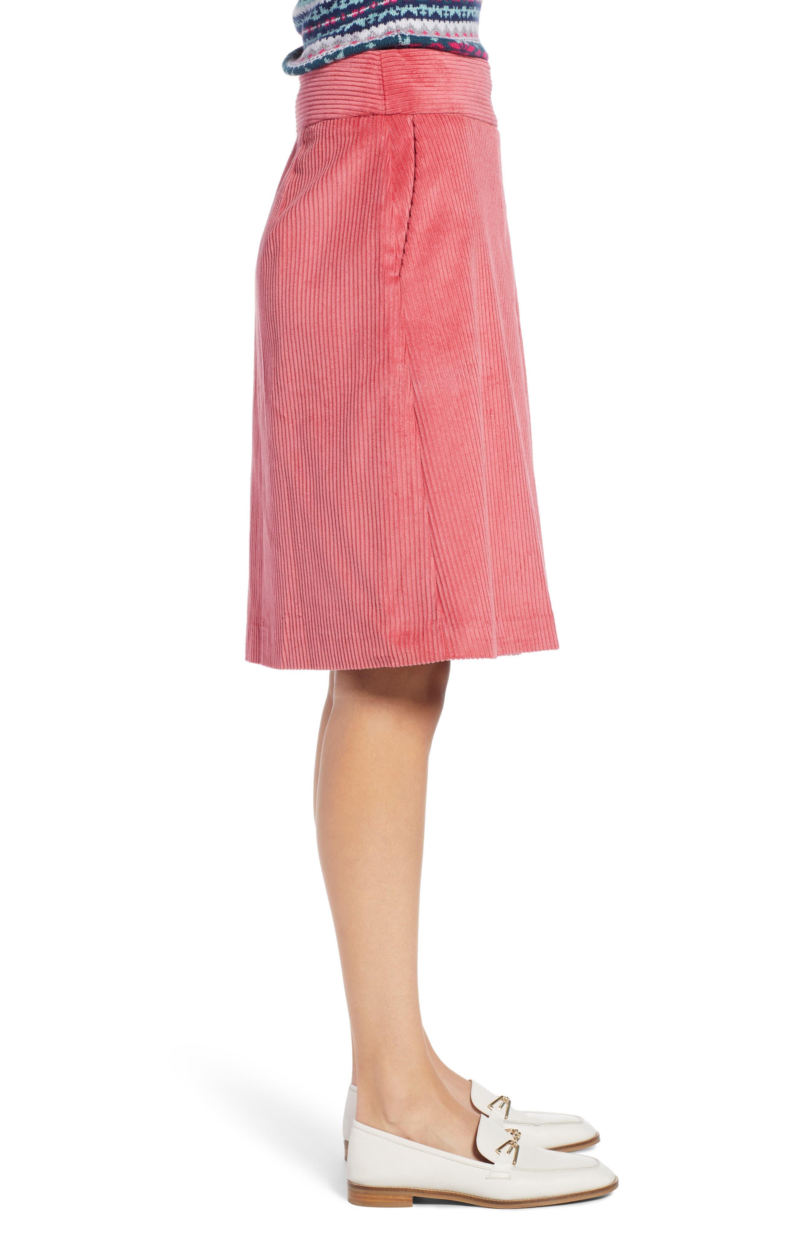 Corduroy Knee Length Skirt,                             Alternate thumbnail 3, color,                             660