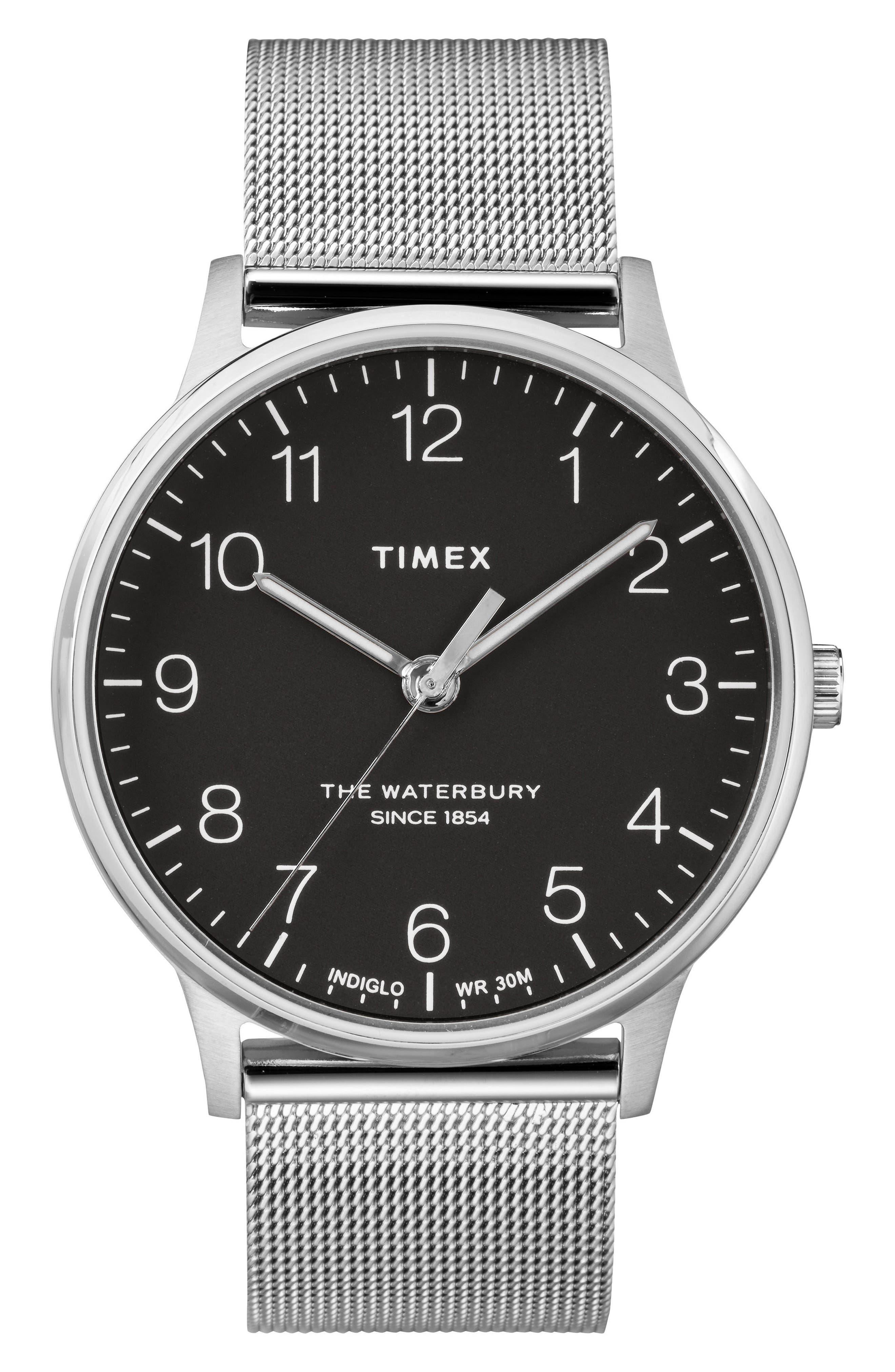 Waterbury Mesh Strap Watch, 40mm,                             Main thumbnail 1, color,                             SILVER/ BLACK/ SILVER