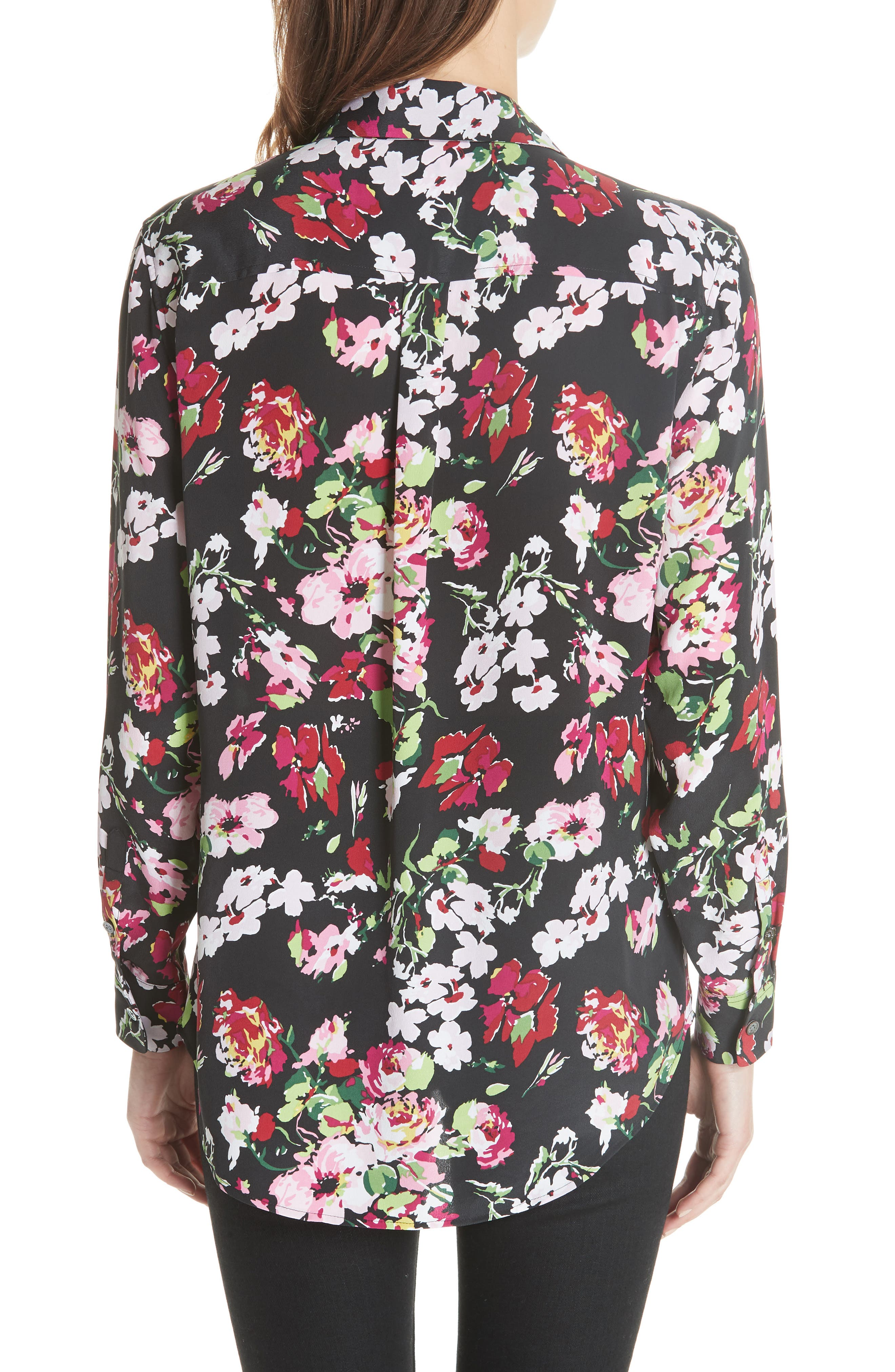 Signature Floral Silk Shirt,                             Alternate thumbnail 2, color,                             009