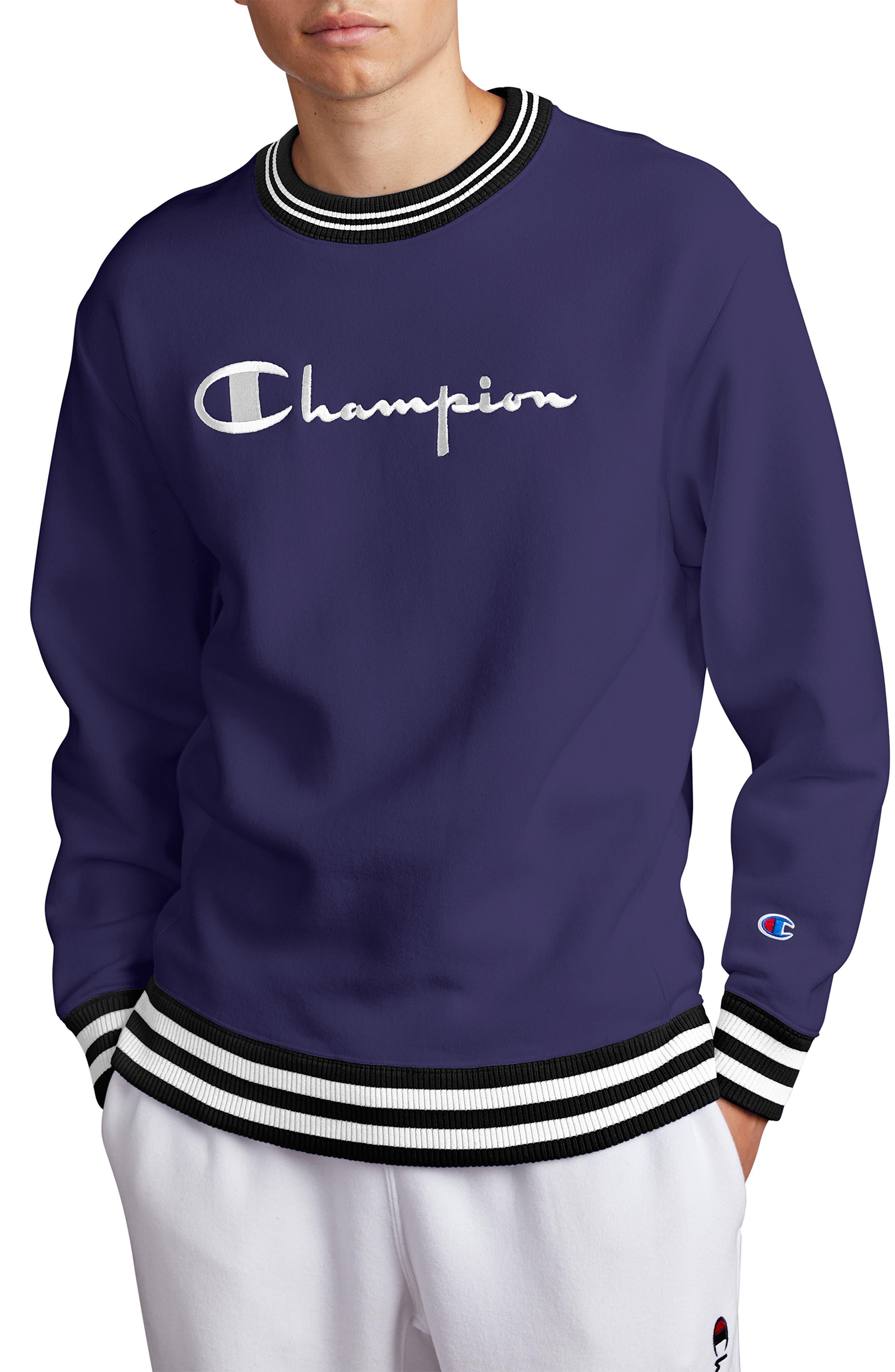 Tipped Crewneck Sweatshirt, Main, color, BLUE APRON