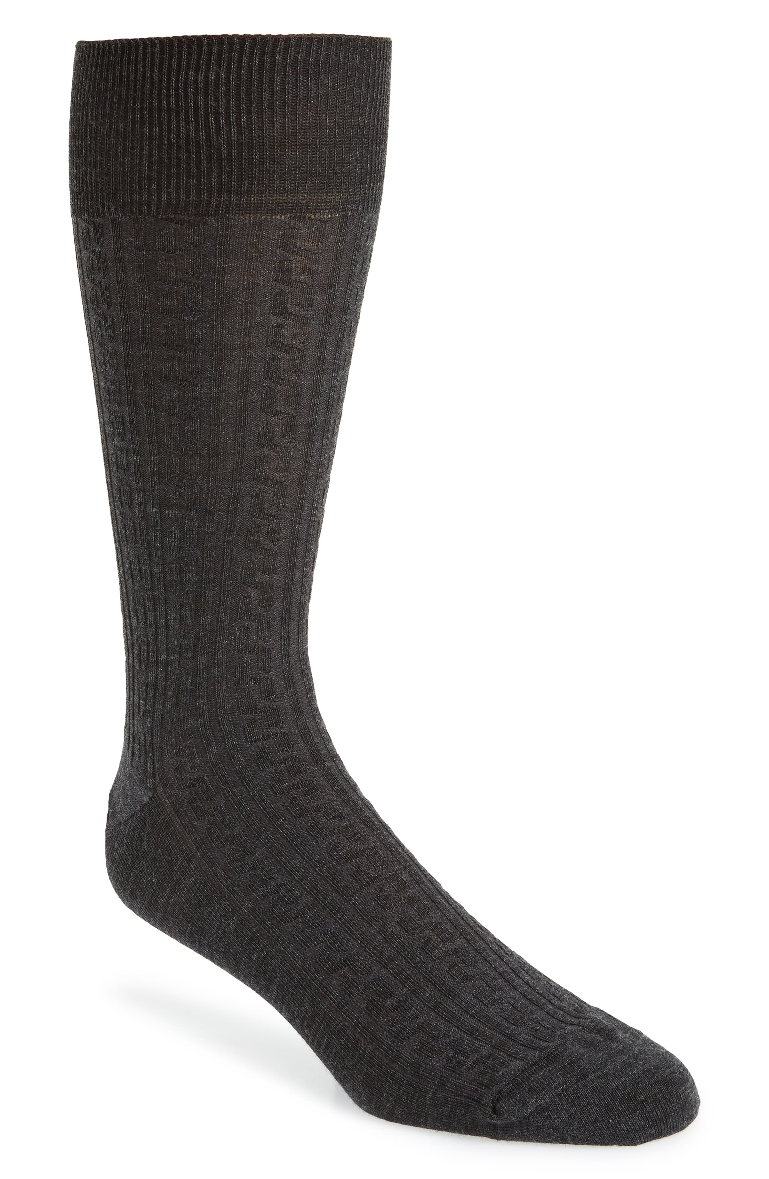 Cable Knit Merino Blend Socks,                             Main thumbnail 1, color,                             CHARCOAL HEATHER