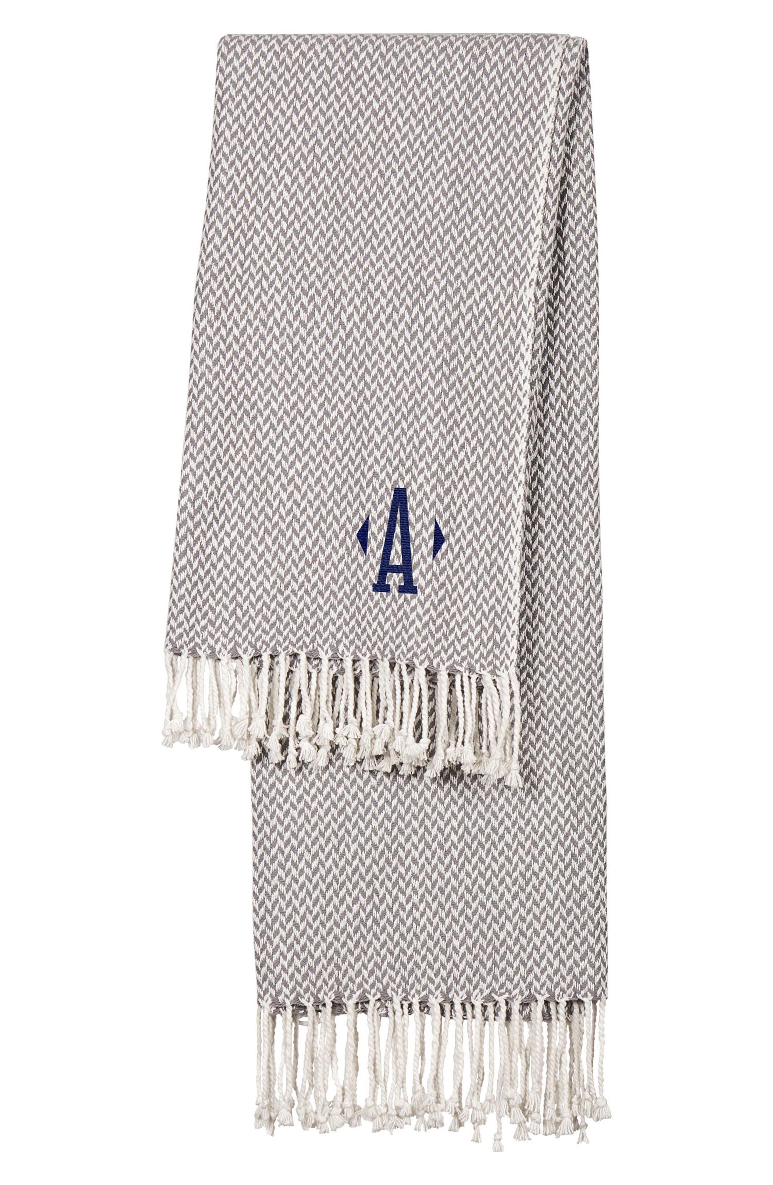 Monogram Herringbone Throw Blanket,                         Main,                         color, GREY-A