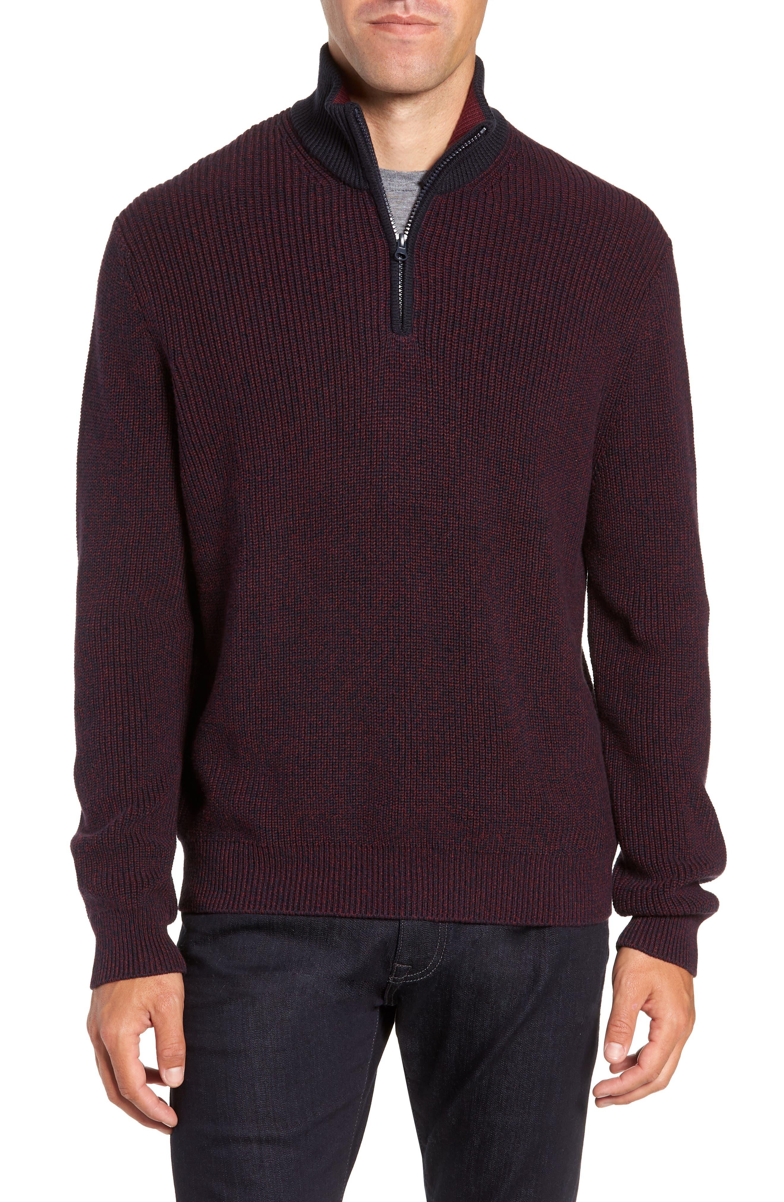 ZACHARY PRELL Fillmore Quarter Zip Sweater in Burgundy