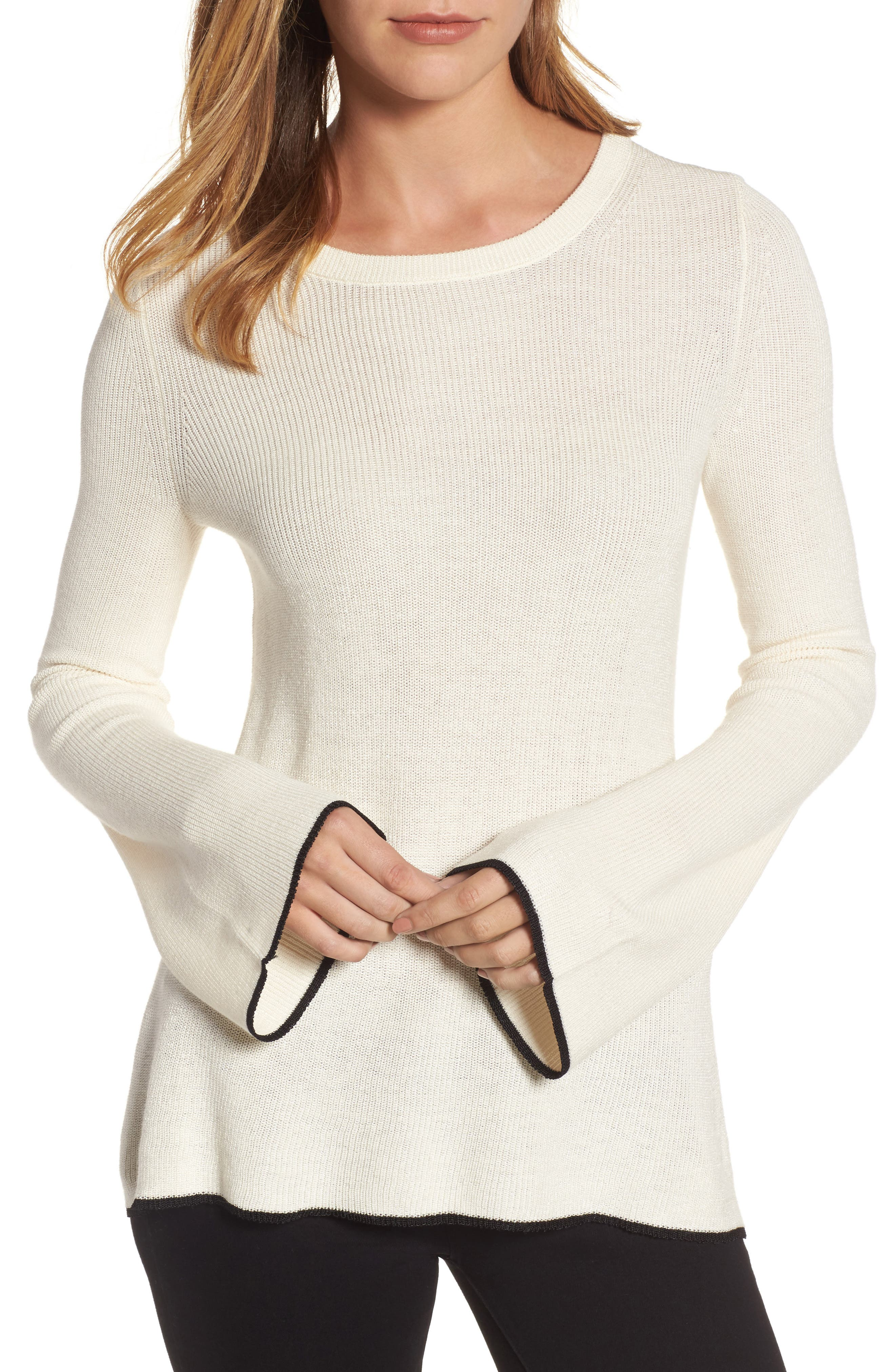 Tipped Bell Sleeve Sweater,                             Main thumbnail 4, color,