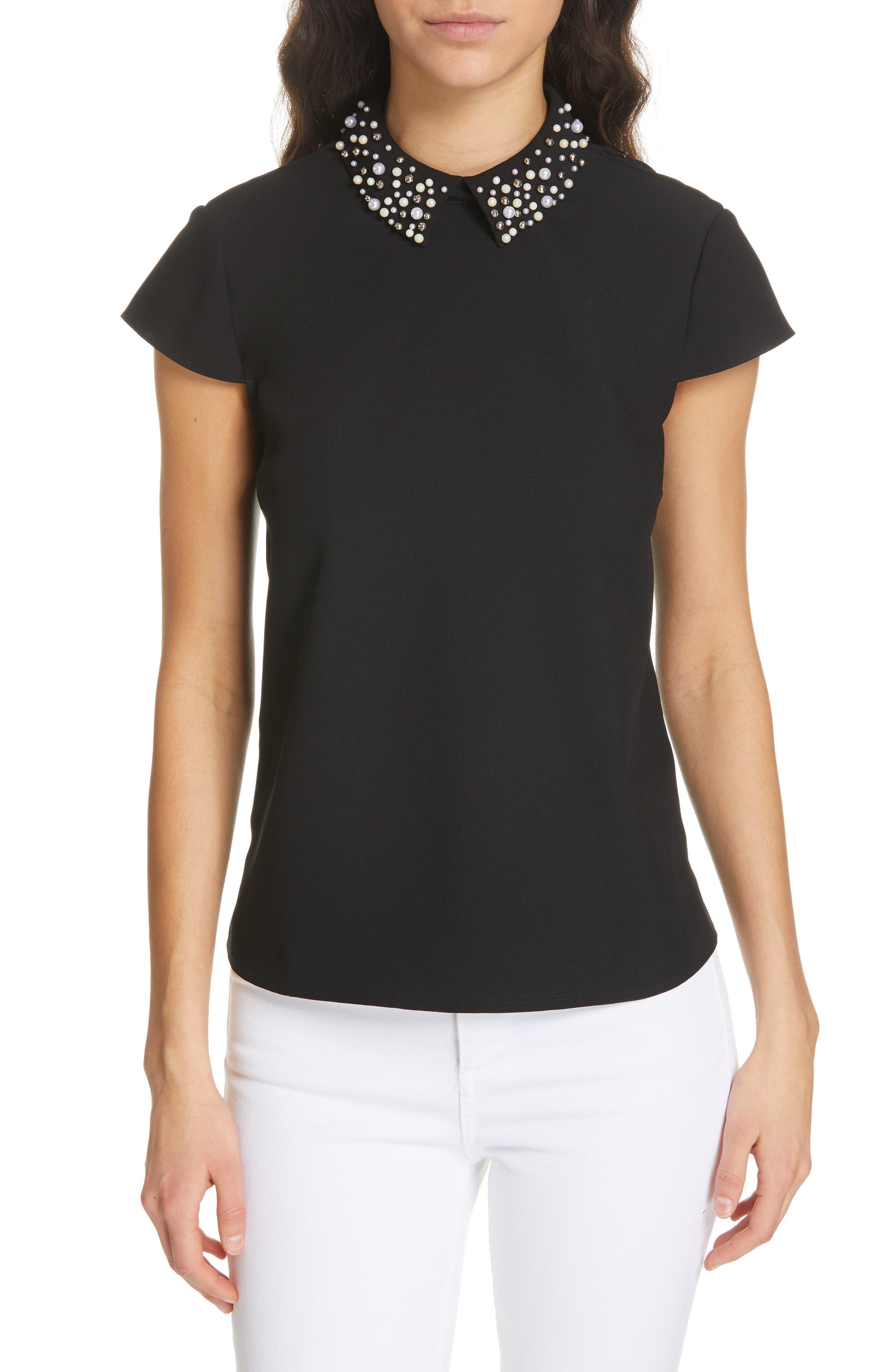 Jaylen Embellished Collar Top, Main, color, BLACK