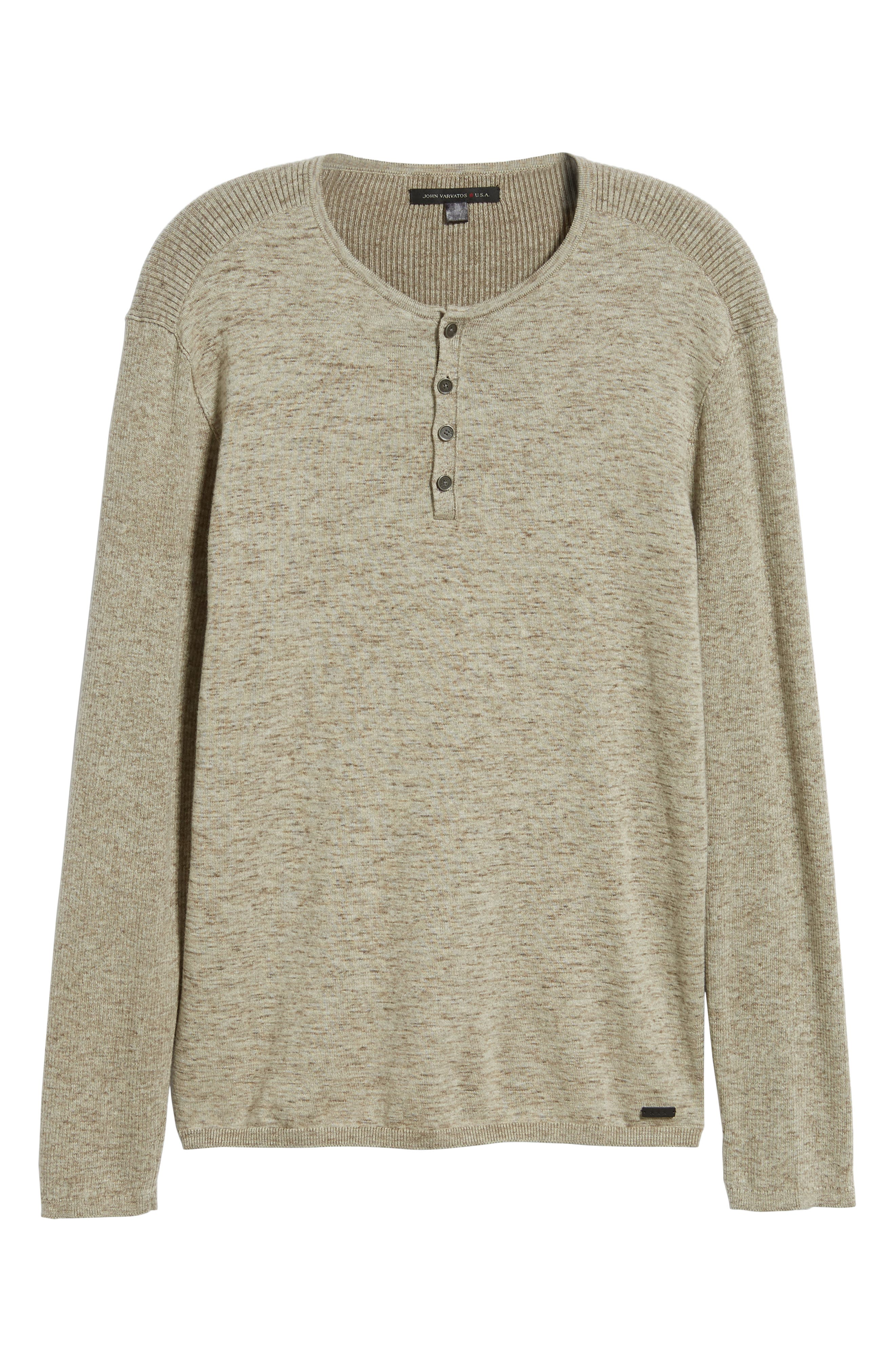 Cotton & Wool Henley Sweater,                             Alternate thumbnail 6, color,                             RYE