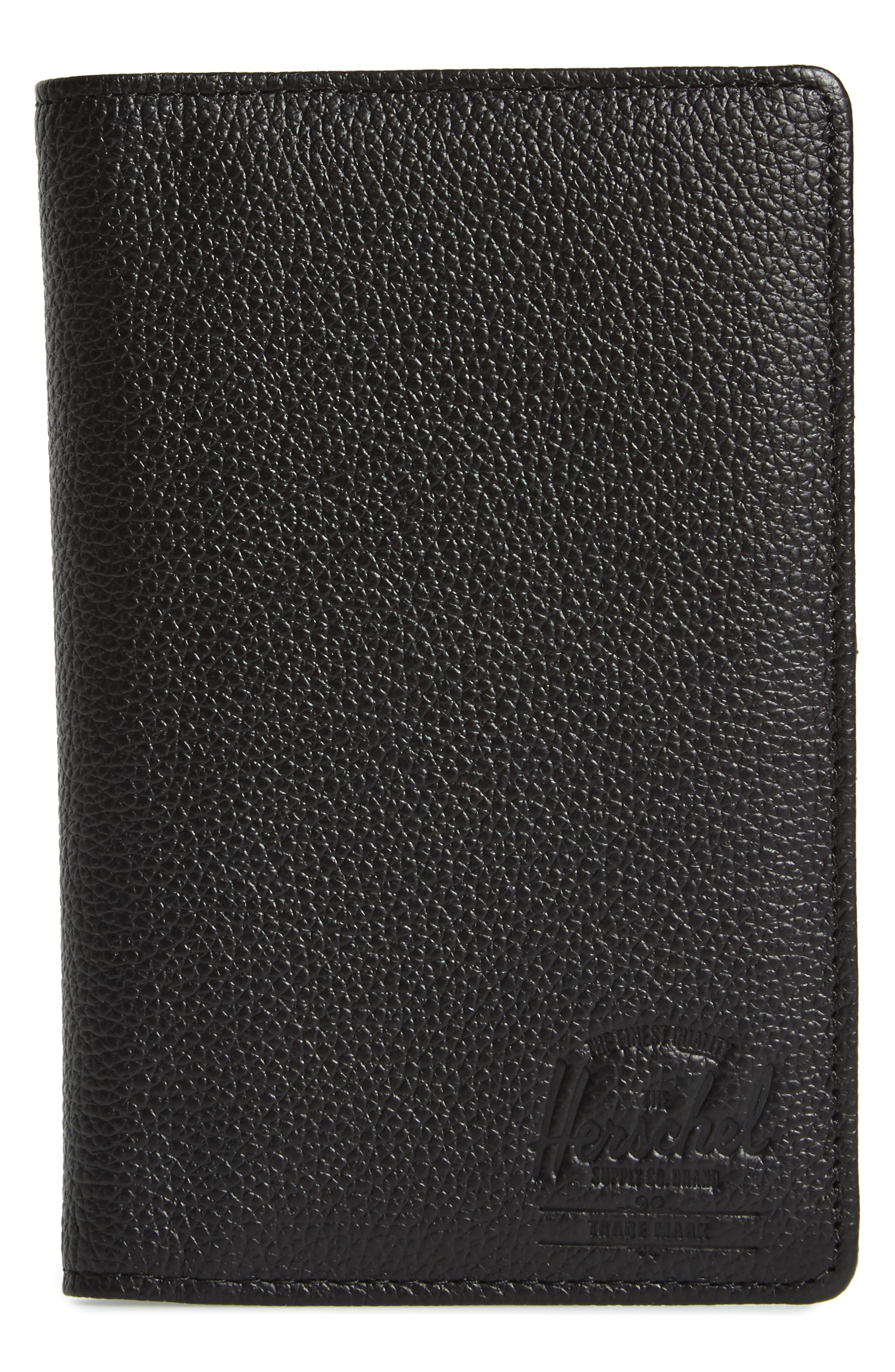 Tile Search Slim Vertical Leather Wallet,                             Main thumbnail 1, color,                             BLACK PEBBLED LEATHER