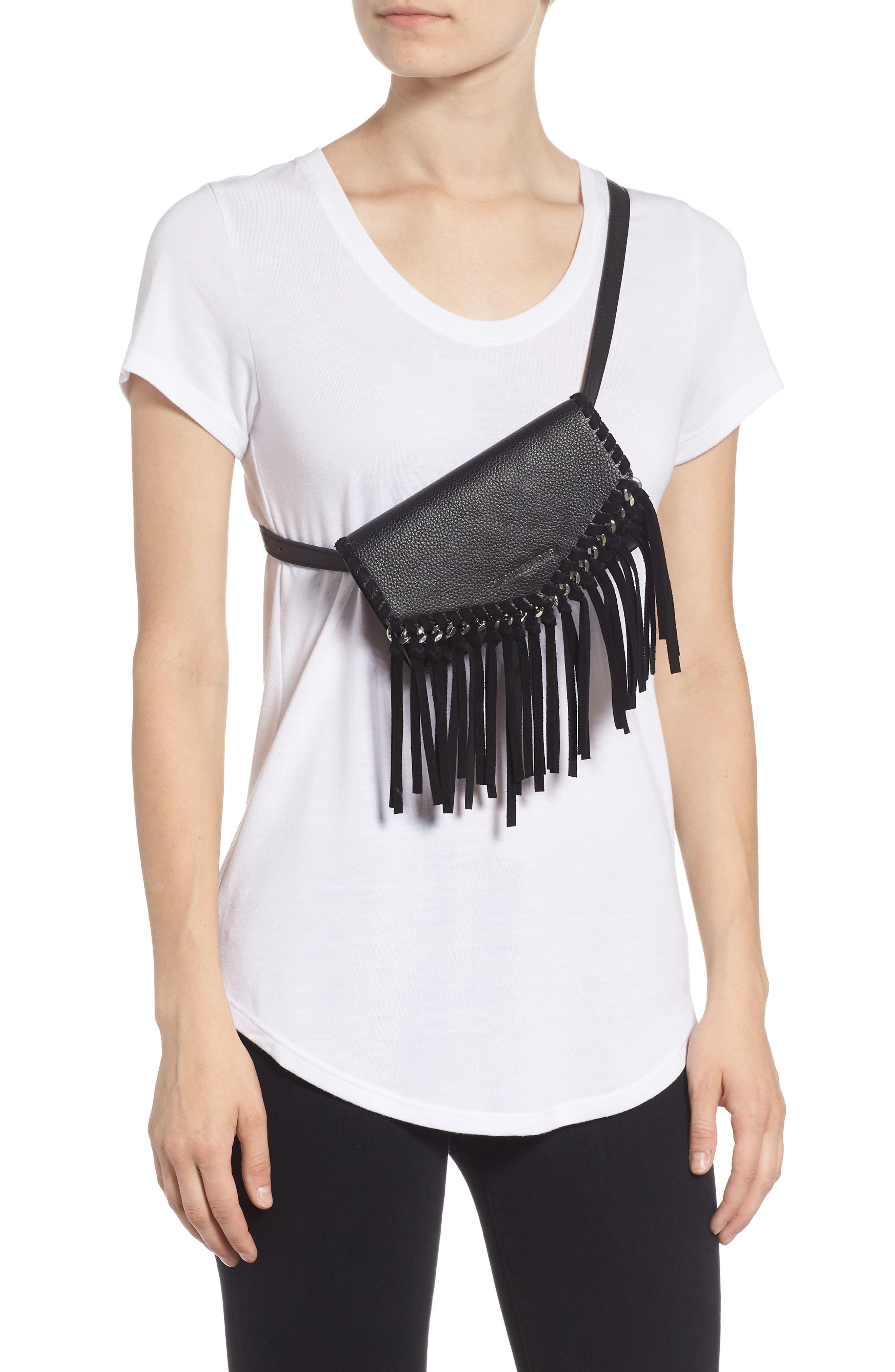 Fringe Leather Belt Bag,                             Alternate thumbnail 3, color,                             BLACK / POL SILVER