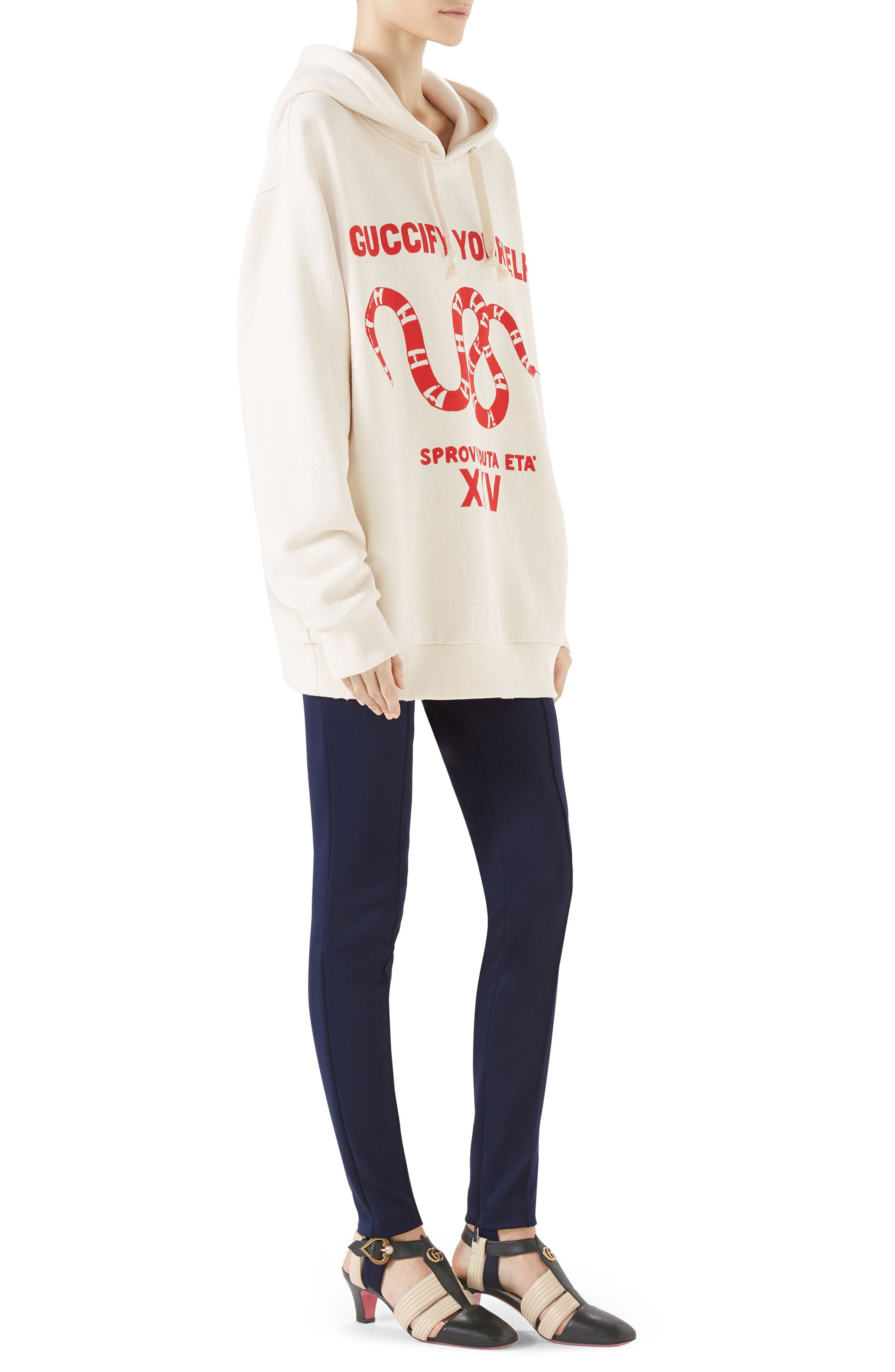 Guccify Yourself Snake Print Hooded Sweatshirt,                             Alternate thumbnail 3, color,                             973