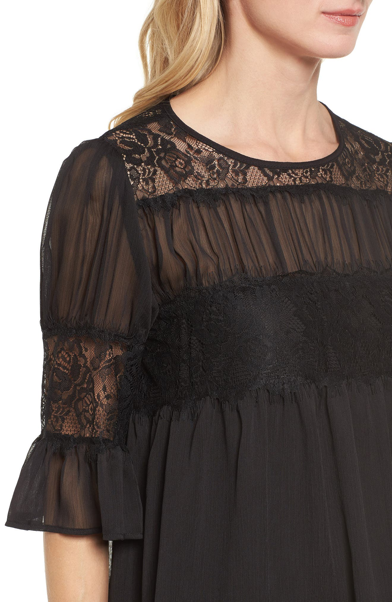 Lace Panel Pleated Blouse,                             Alternate thumbnail 13, color,
