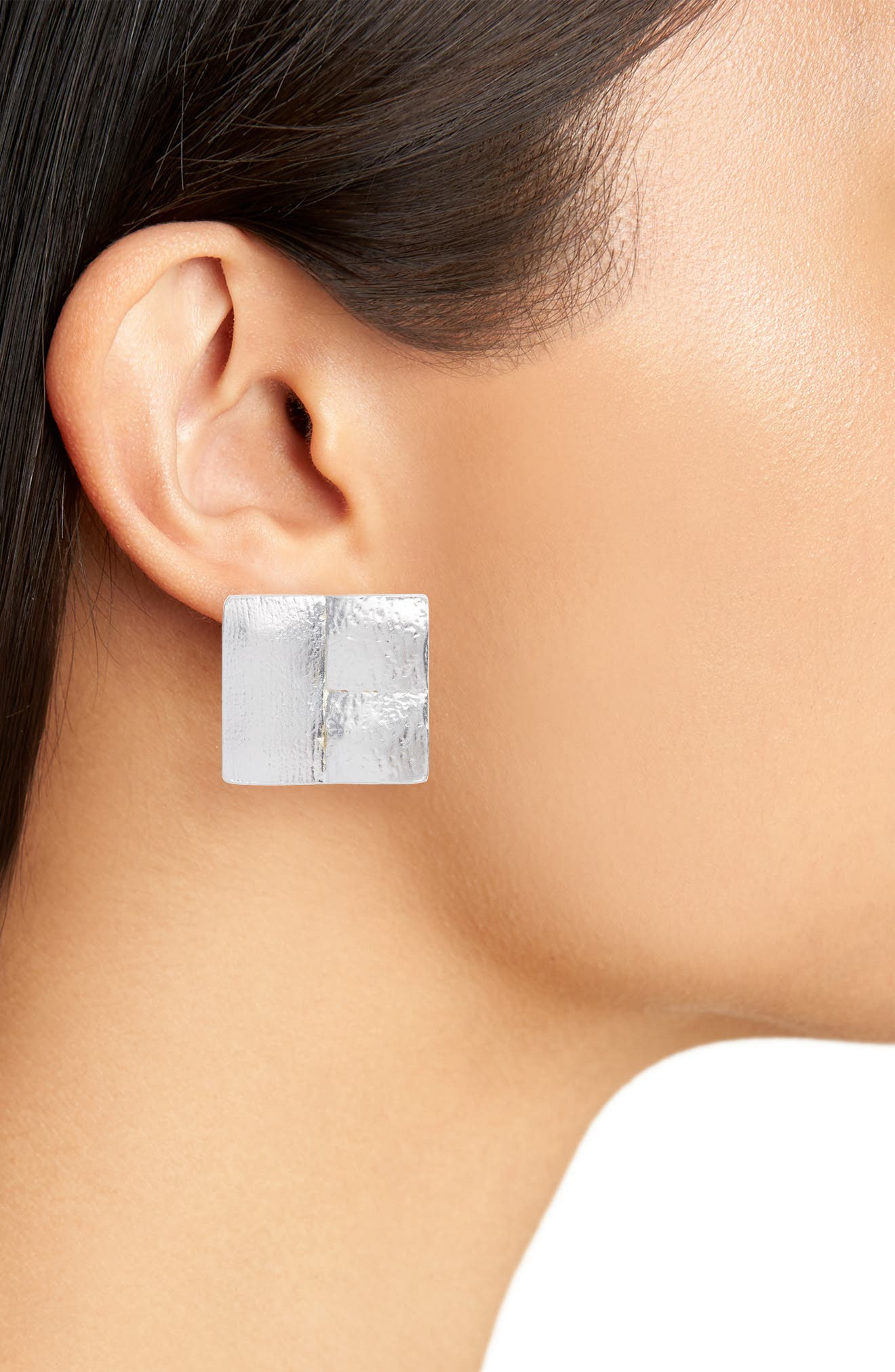 Baroque Clip Stud Earrings,                             Alternate thumbnail 2, color,                             SILVER
