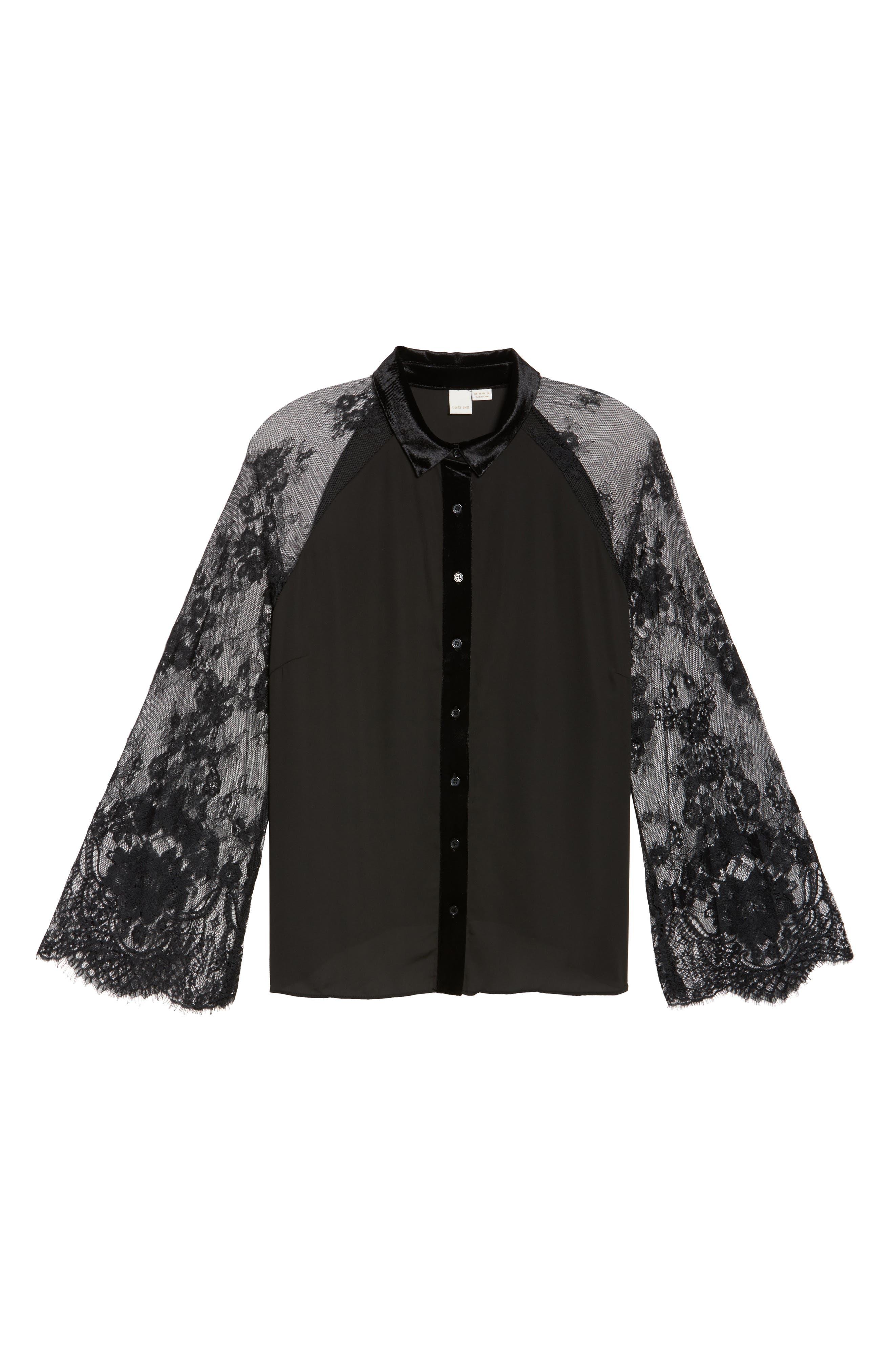 Lace Sleeve Shirt,                             Alternate thumbnail 6, color,